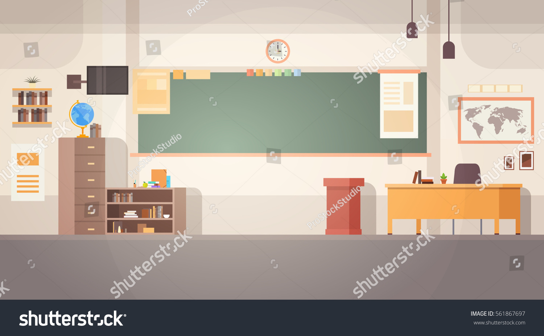 Modern Classroom Vector ~ School classroom interior board desk banner stock vector