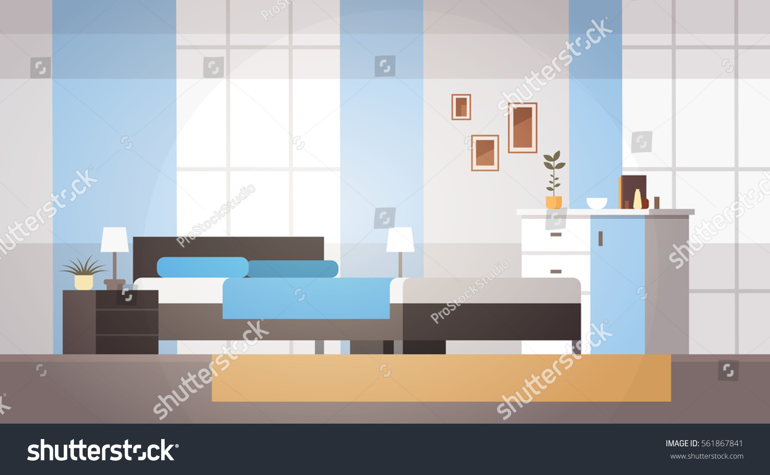 Bedroom interior home modern apartment design stock vector for Apartment design vector