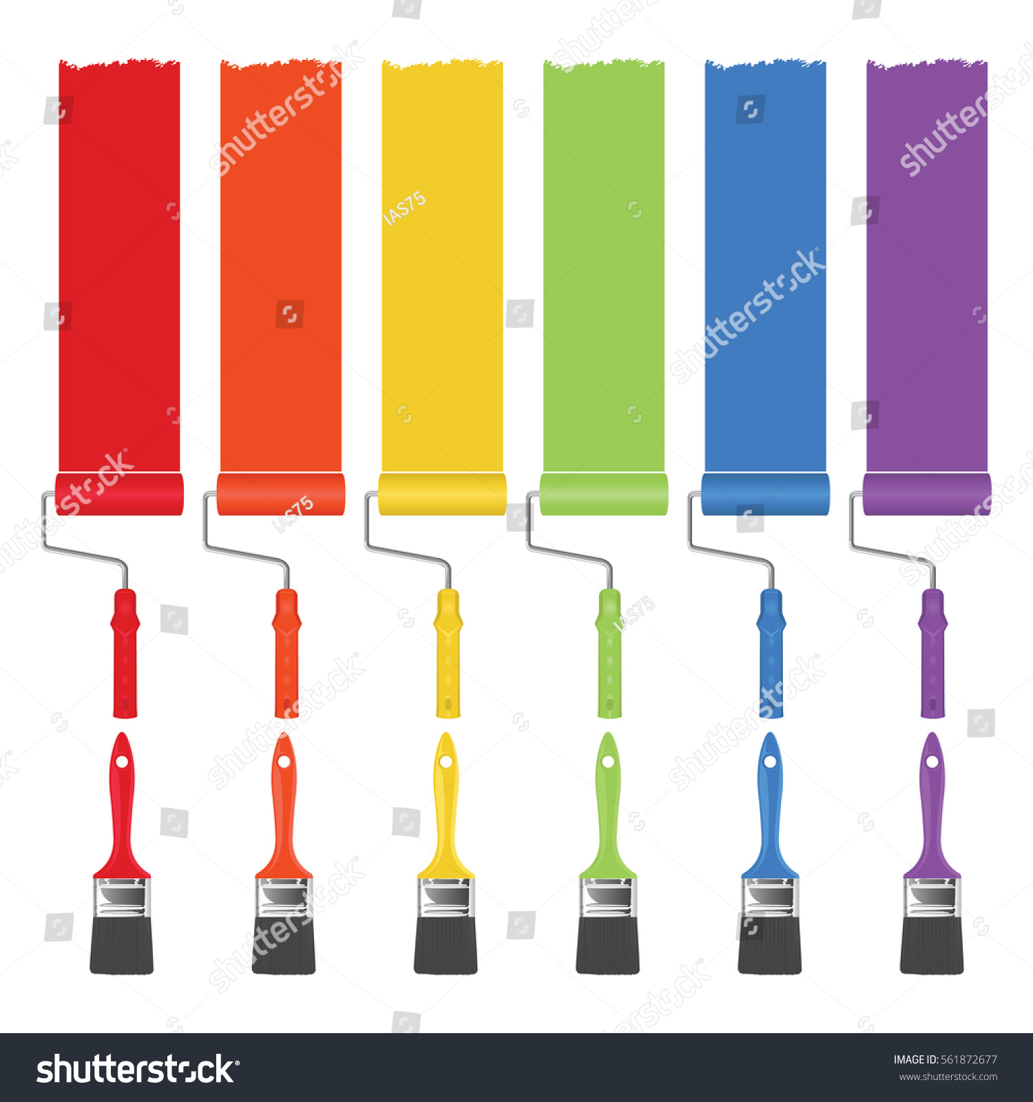 Different Colors Of Paint: Paint Brushes Rollers Strip Paint Different Stock Vector