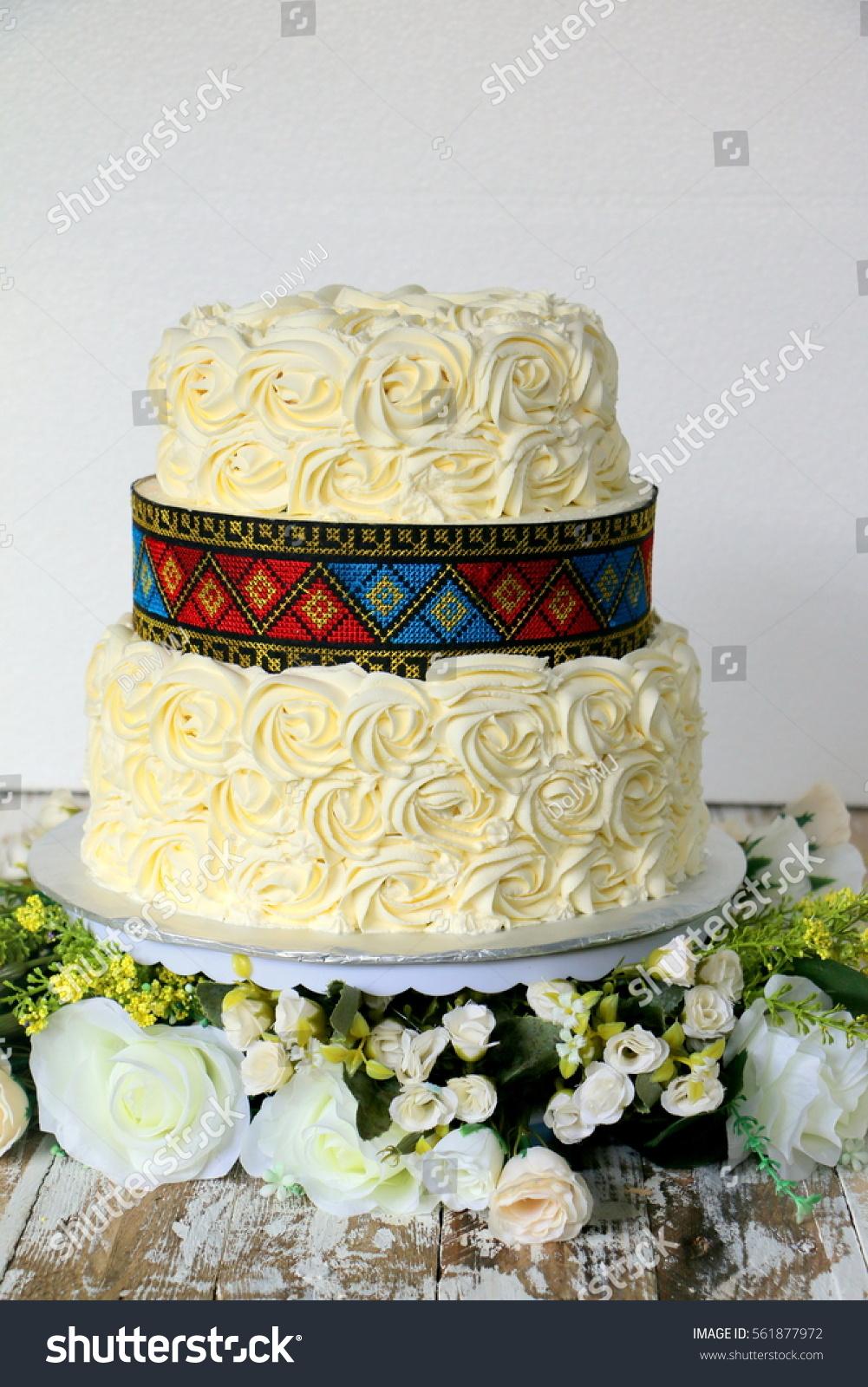 Romantic Ethnic Theme Wedding Cake Rose Stock Photo (Edit Now ...