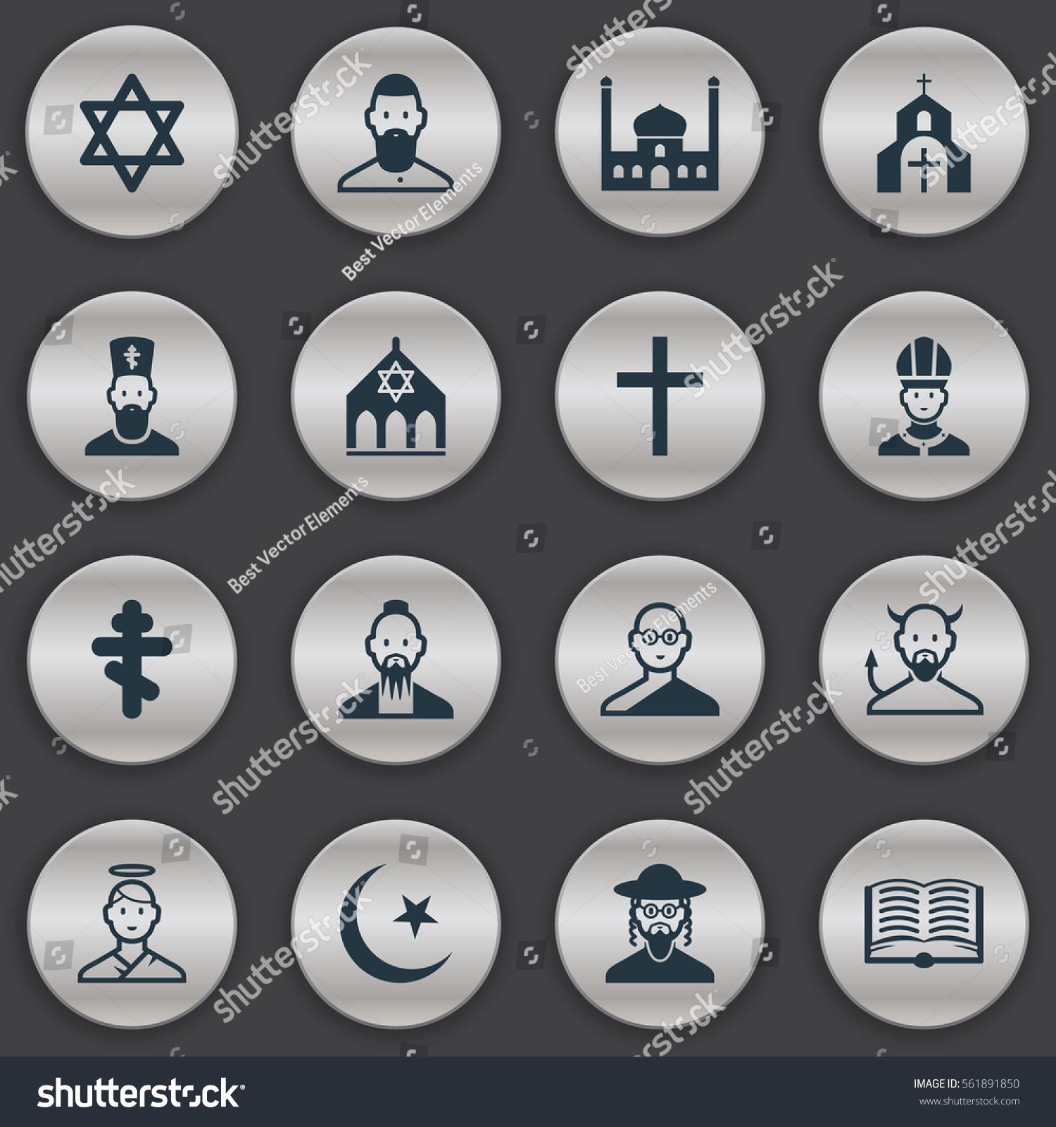 Set 16 religion icons includes symbols stock illustration includes symbols such as satan hebrew gospel and biocorpaavc Choice Image