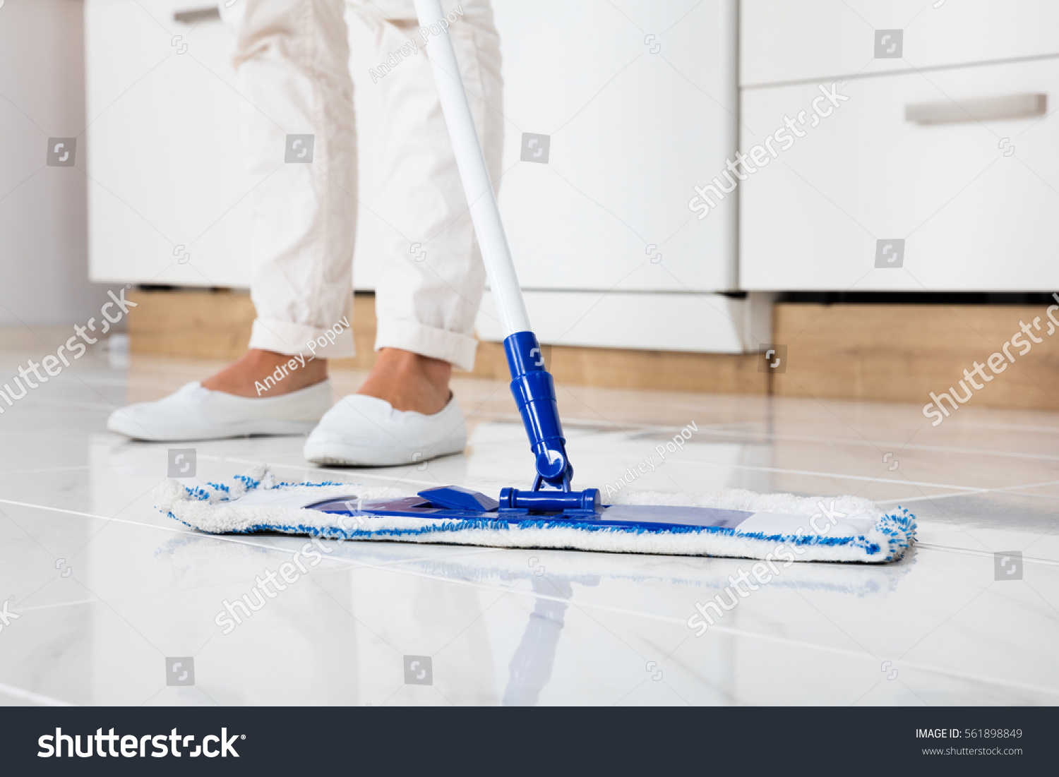 Mopping Kitchen Floor Cleaning Service Woman Mopping Floor Kitchen Stock Photo 561898849
