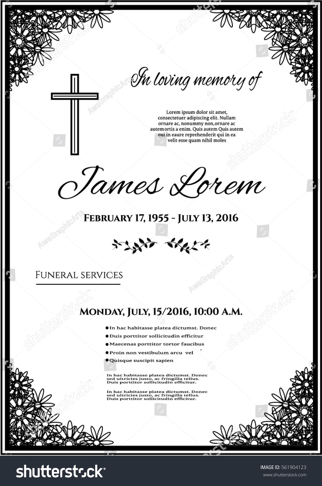 Funeral Template Card Simple Line Cross Stock Vector ...