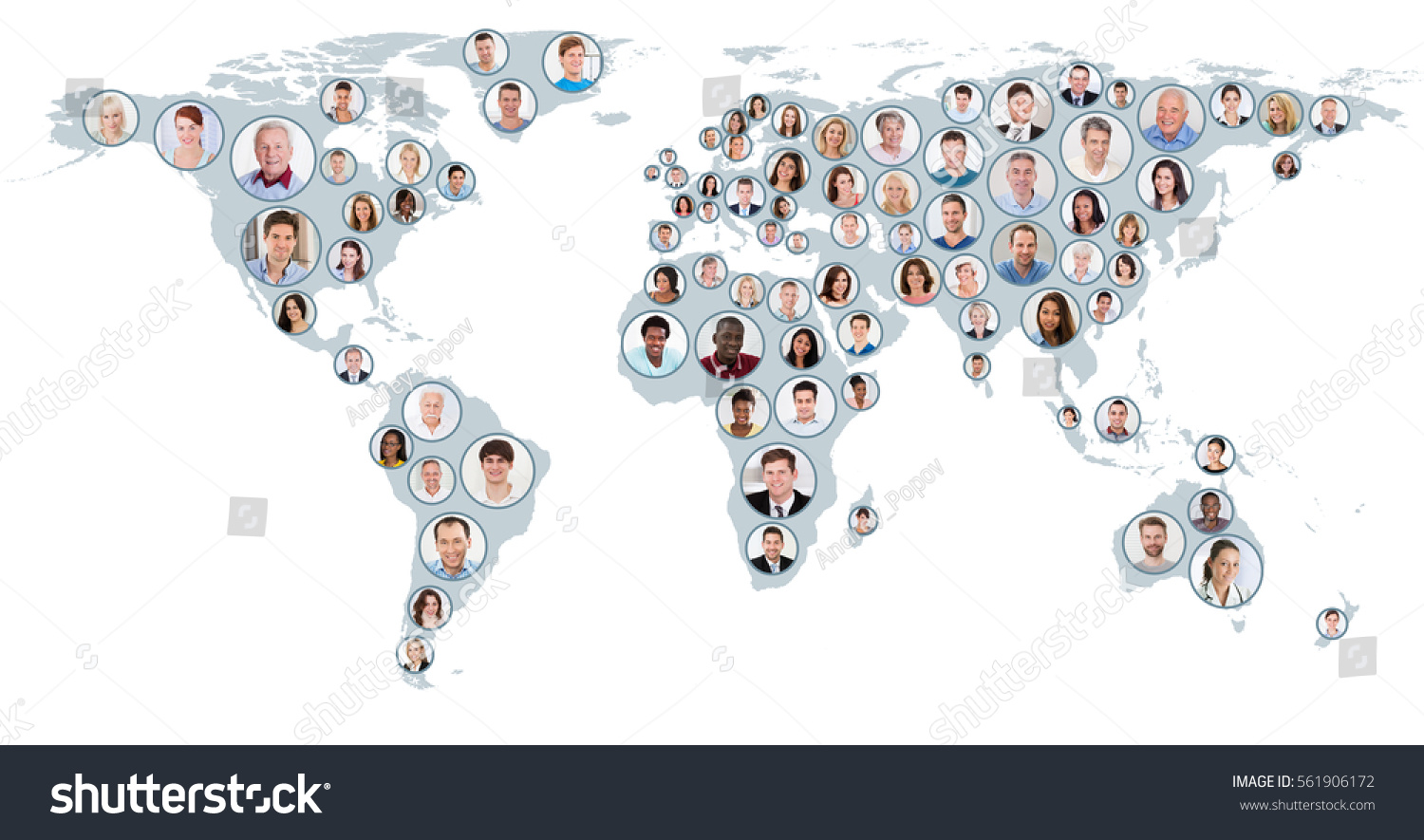 Collage multiethnic people on world map imagen de archivo stock collage of multiethnic people on world map at white background global business concept gumiabroncs Image collections