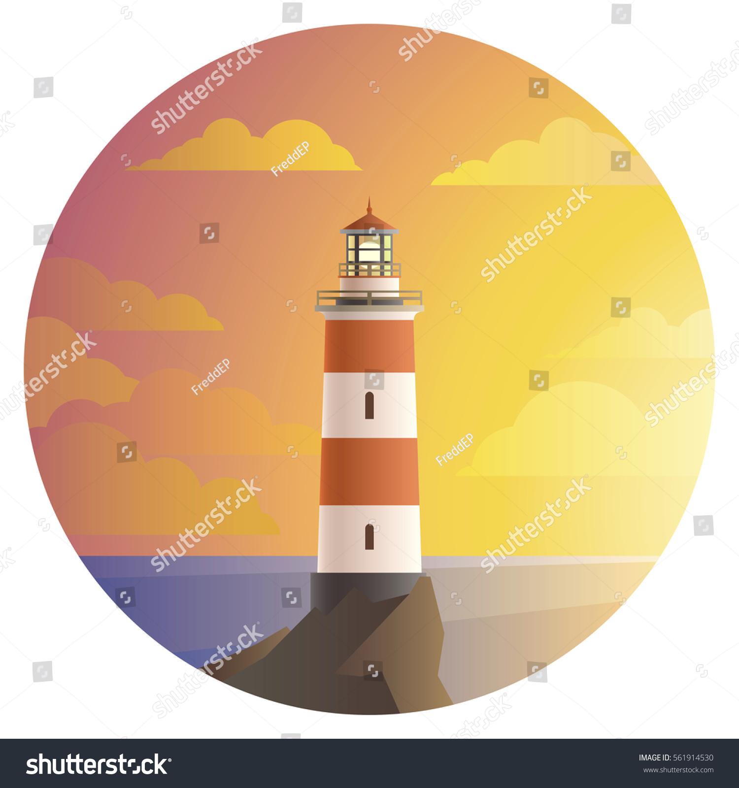 Vector Lighthouse Beautiful Landscape Sunset Ocean Stock Photo ...