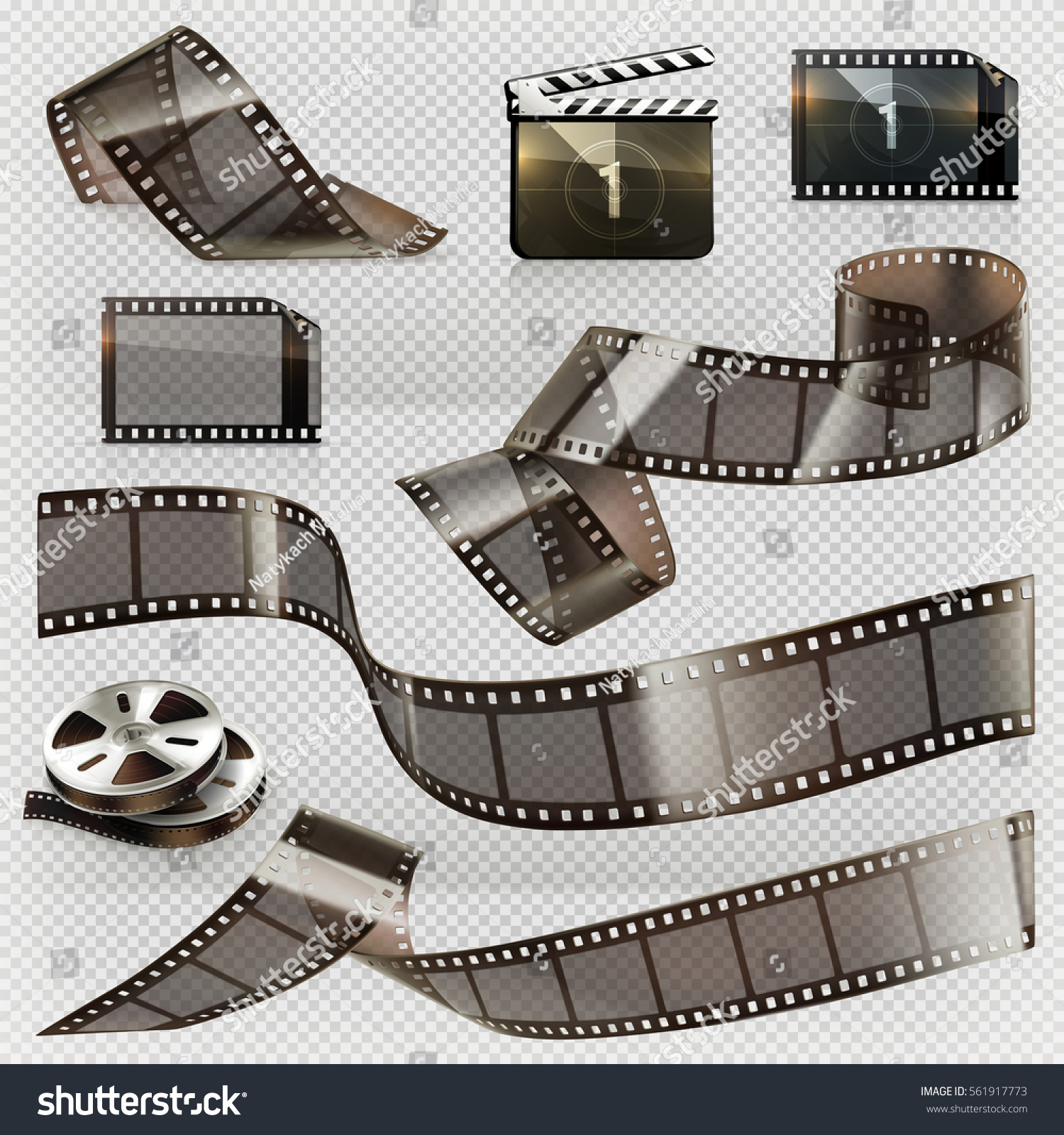 Old film strip with transparency. 3d vector icon set