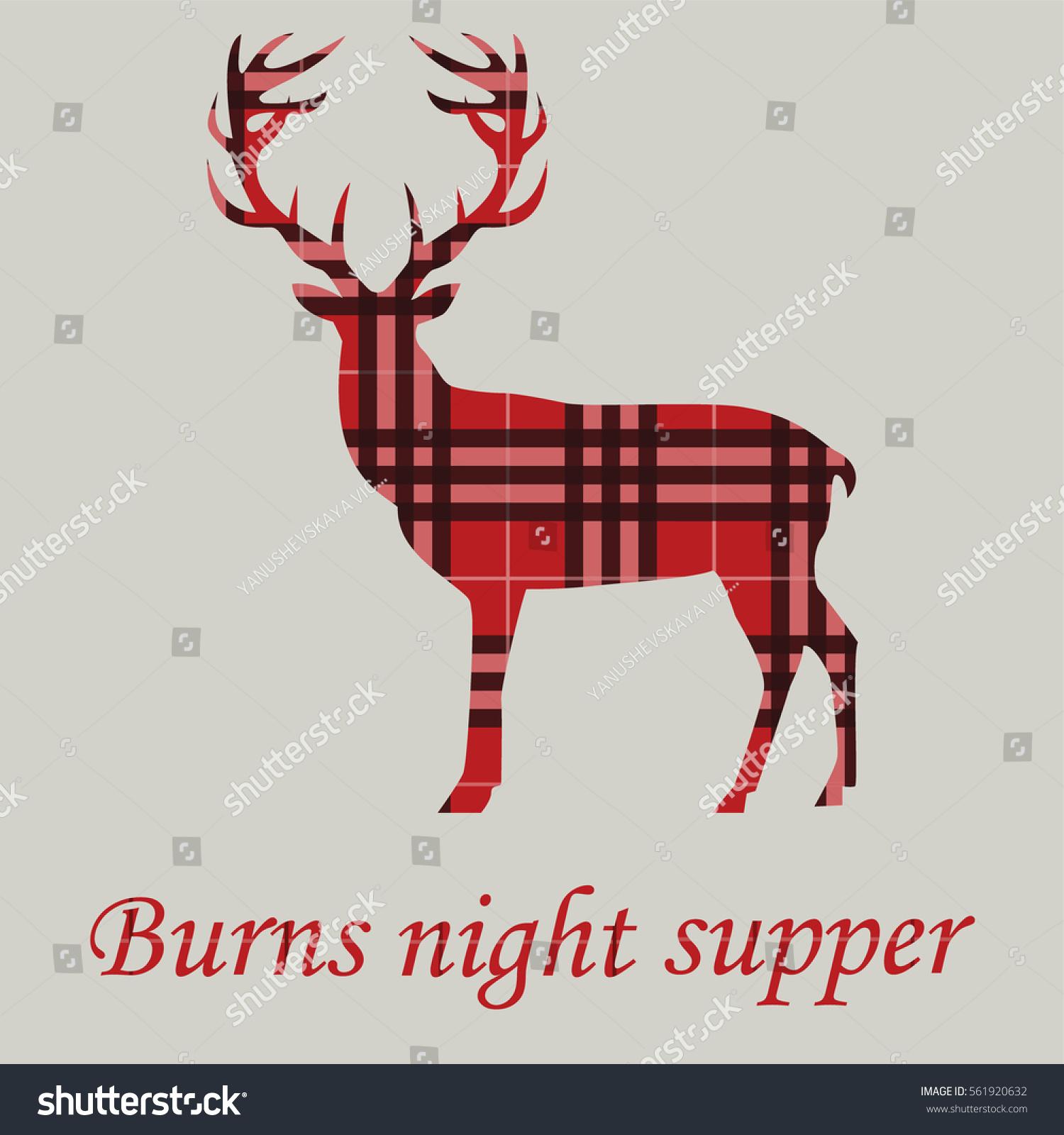 Burns Night Supper Deer On Tartan Stock Vector Royalty Free