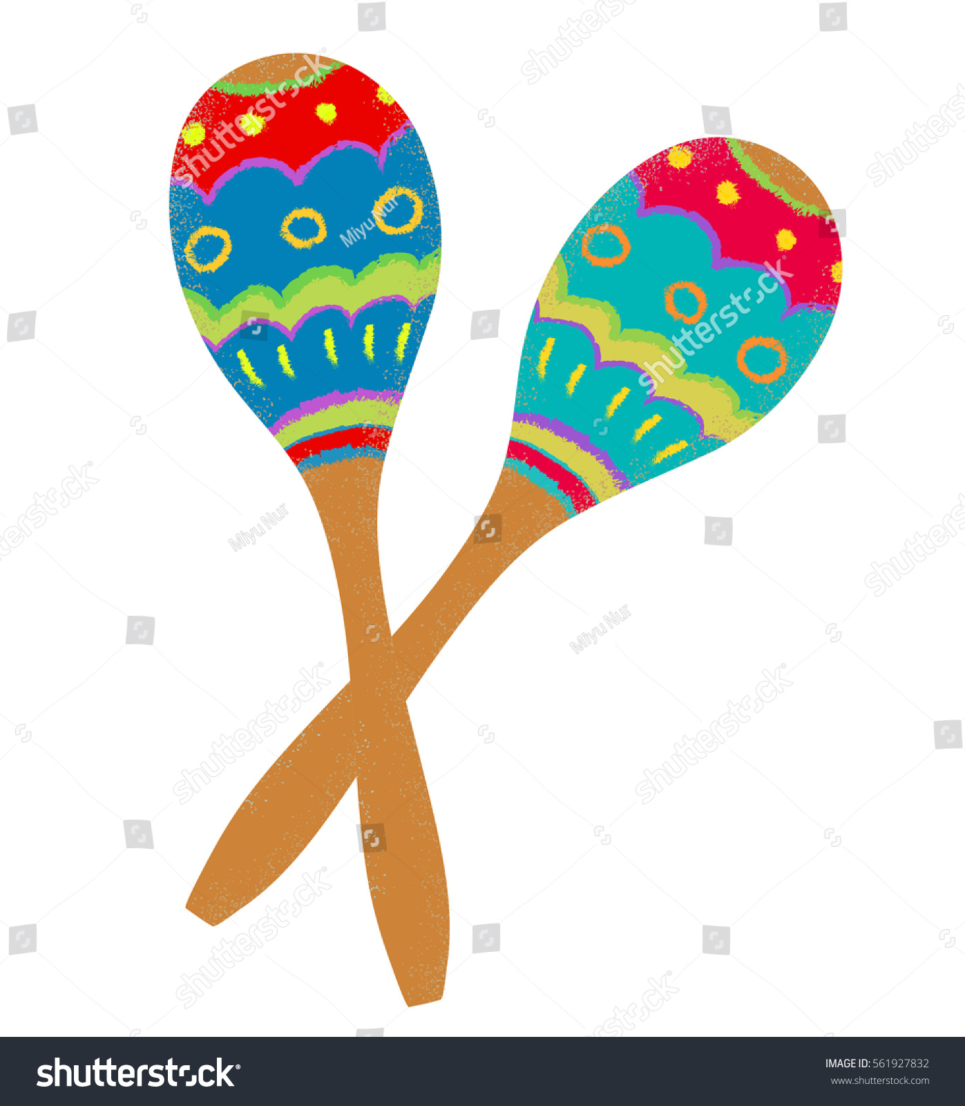 two colorful maracas on white background stock vector 561927832