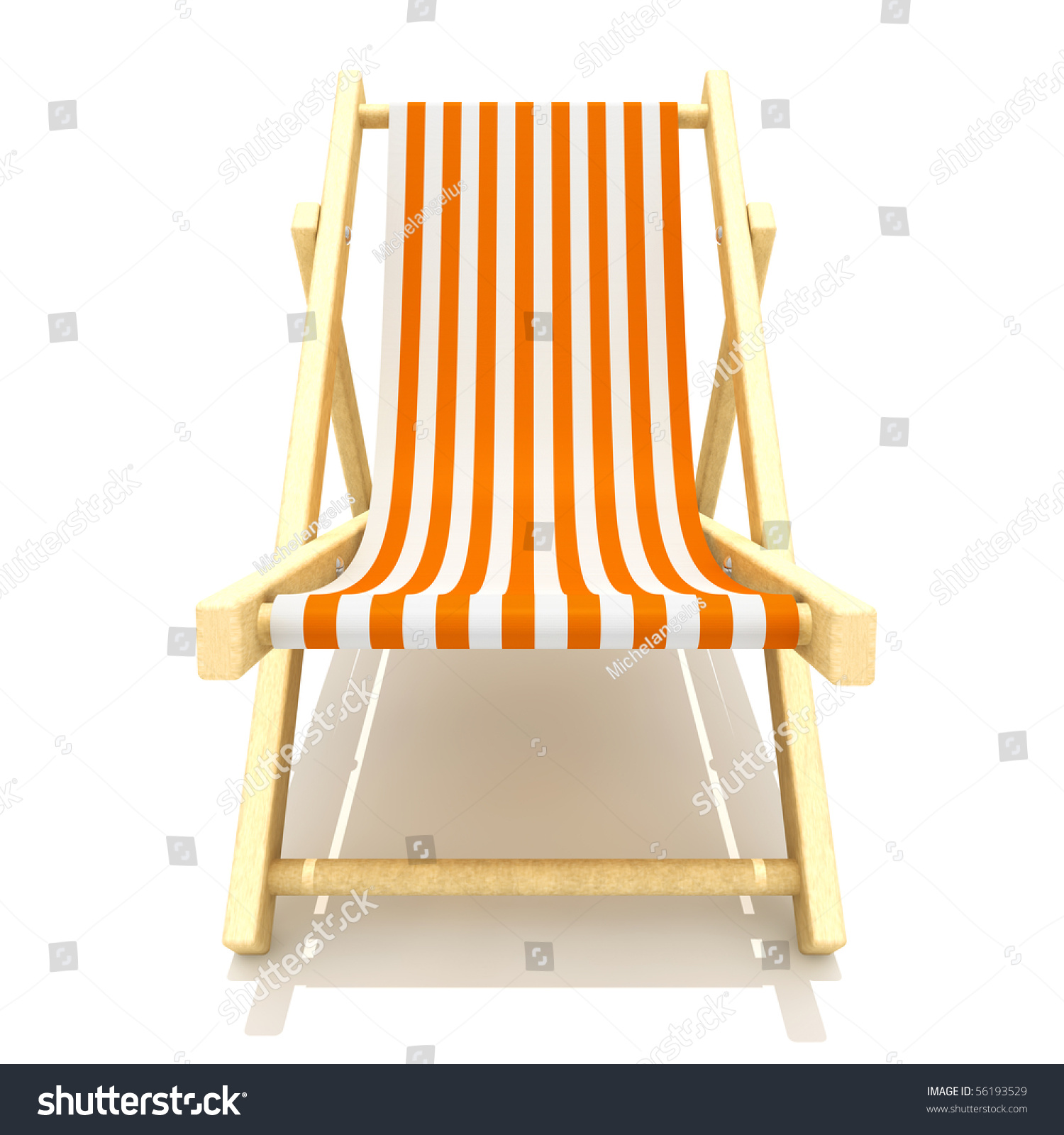 3d Rendering Colorful Wooden Deck Chairs Stock Illustration