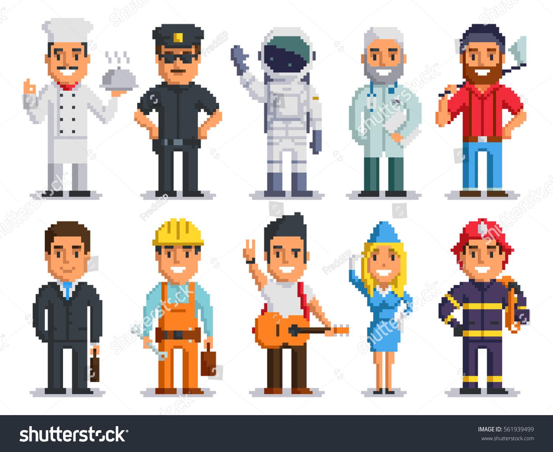 Pixel art characters set professions pixel 561939499 for Pixel people interior designer