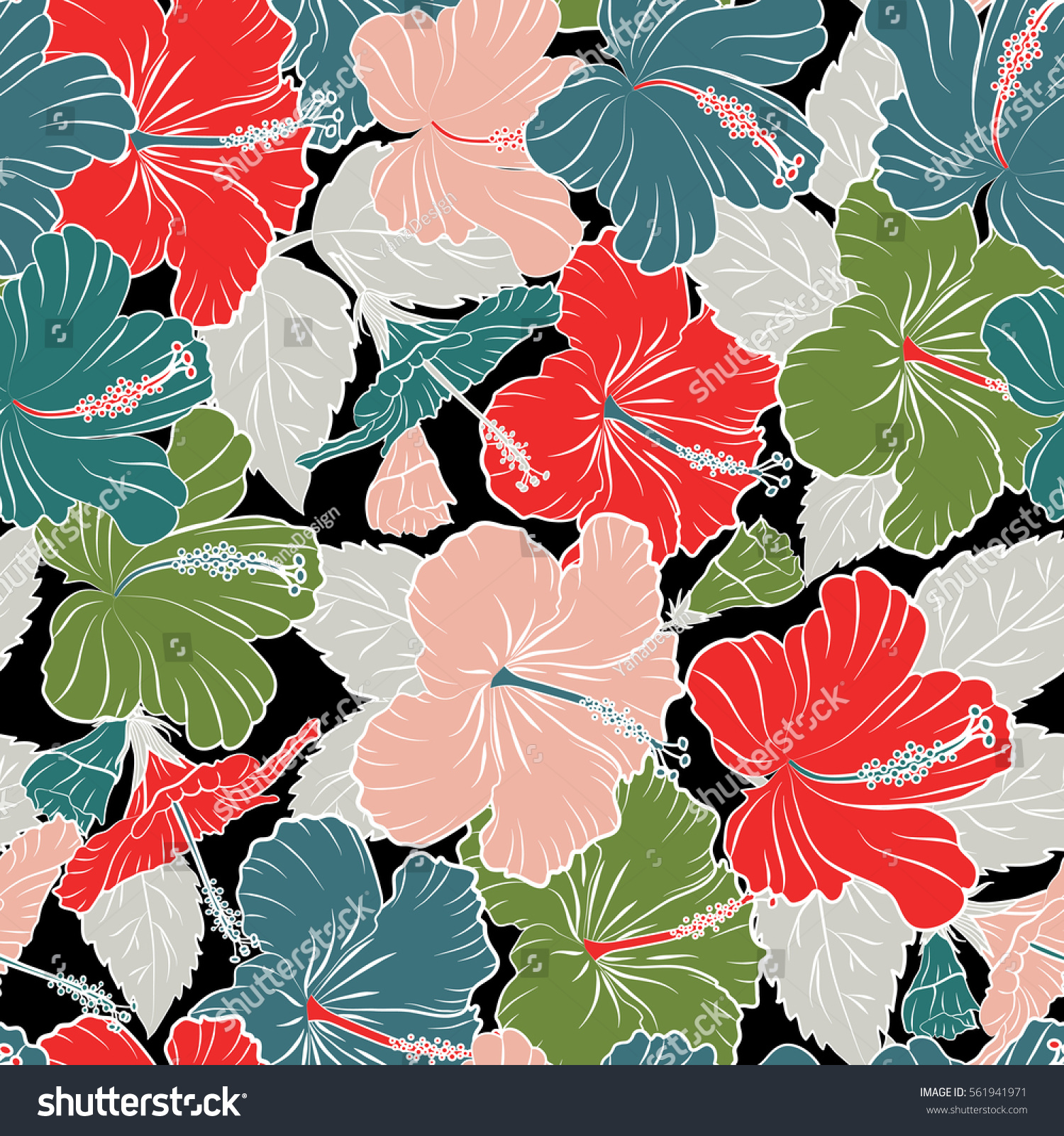 Hibiscus flowers on a black background in a trendy vector style hibiscus flowers on a black background in a trendy vector style hawaiian tropical natural floral seamless pattern in red pink and blue colors ez canvas izmirmasajfo