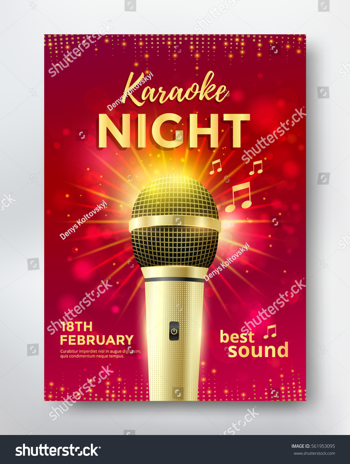 karaoke night poster template design golden のベクター画像素材
