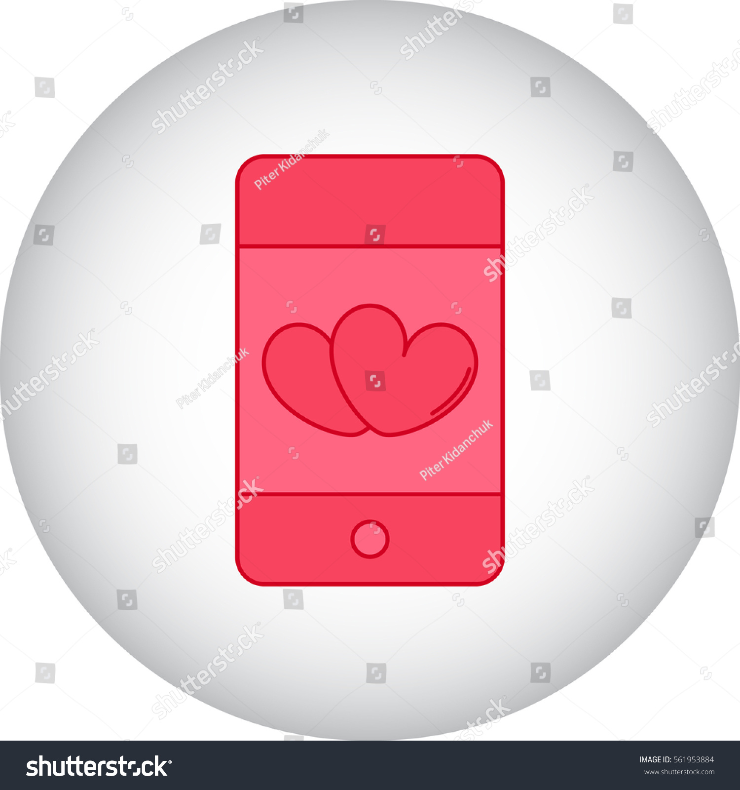 Love Hearts On Cell Phone Symbol Stock Vector Royalty Free