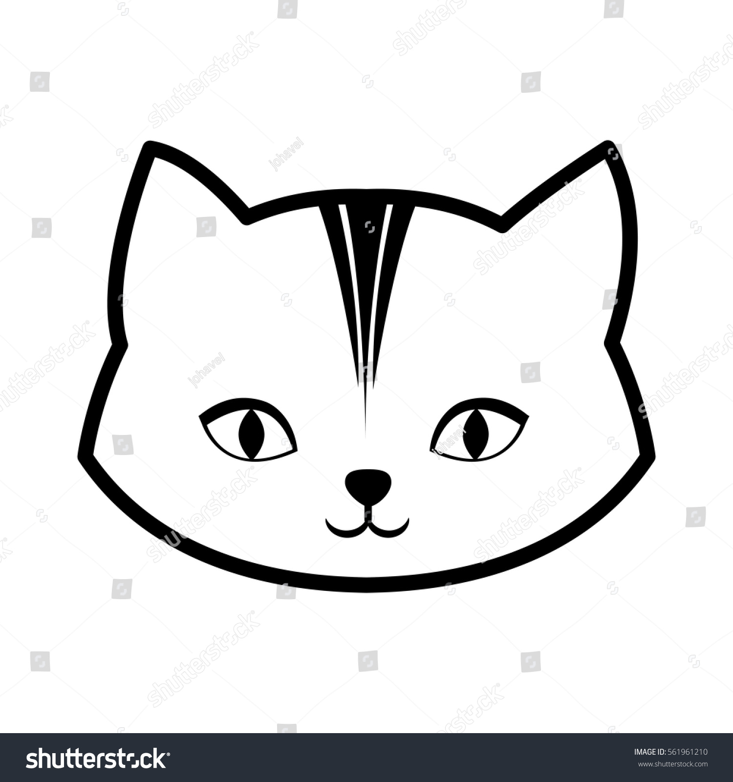 face cat feline curious small outline stock vector 561961210