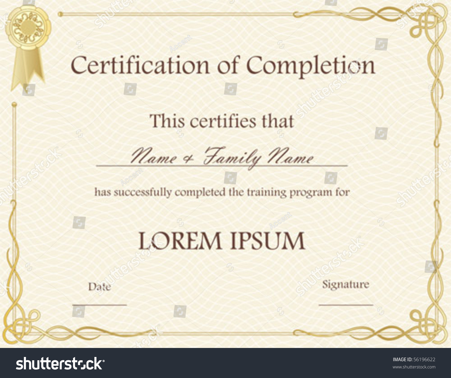 Doc500353 Certificate of Completion Template Free Free – Certificate of Completion Template Free