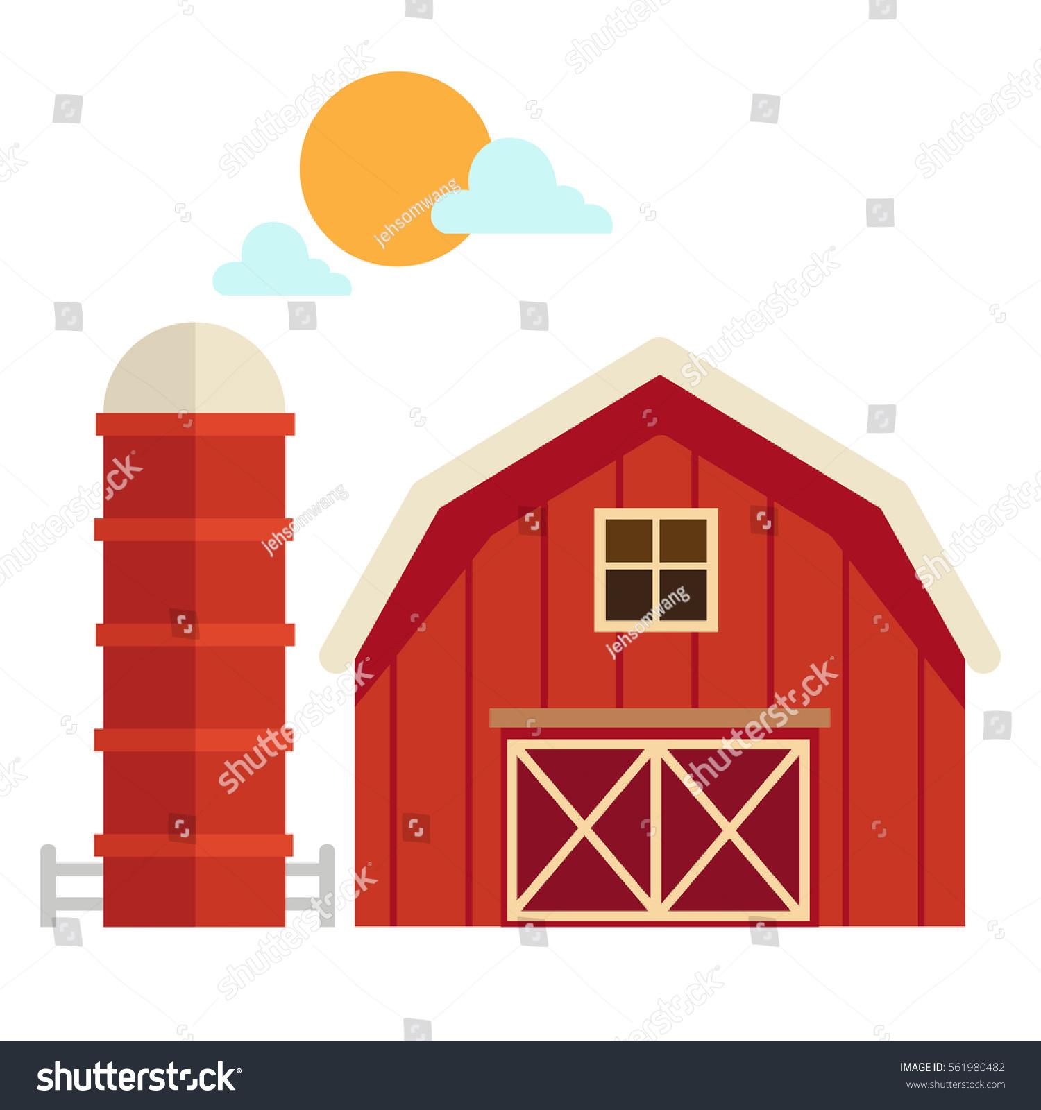 Illustration Of Isolated Barn House On White Background
