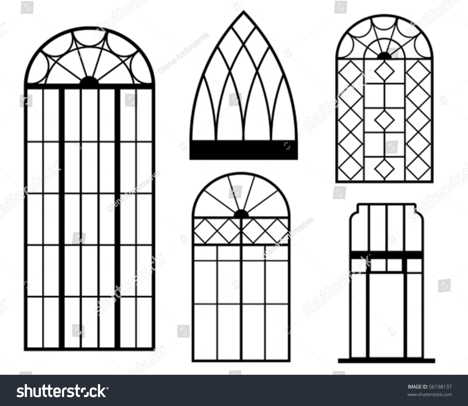 Set vintage window silhouette stock vector 56198137 for Window design template