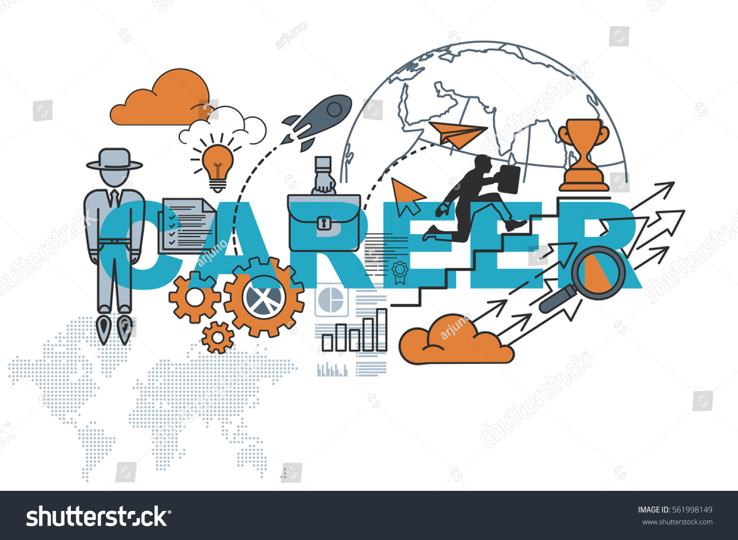 Career Website Banner Concept Thin Line Stock Vector Royalty Free 561998149