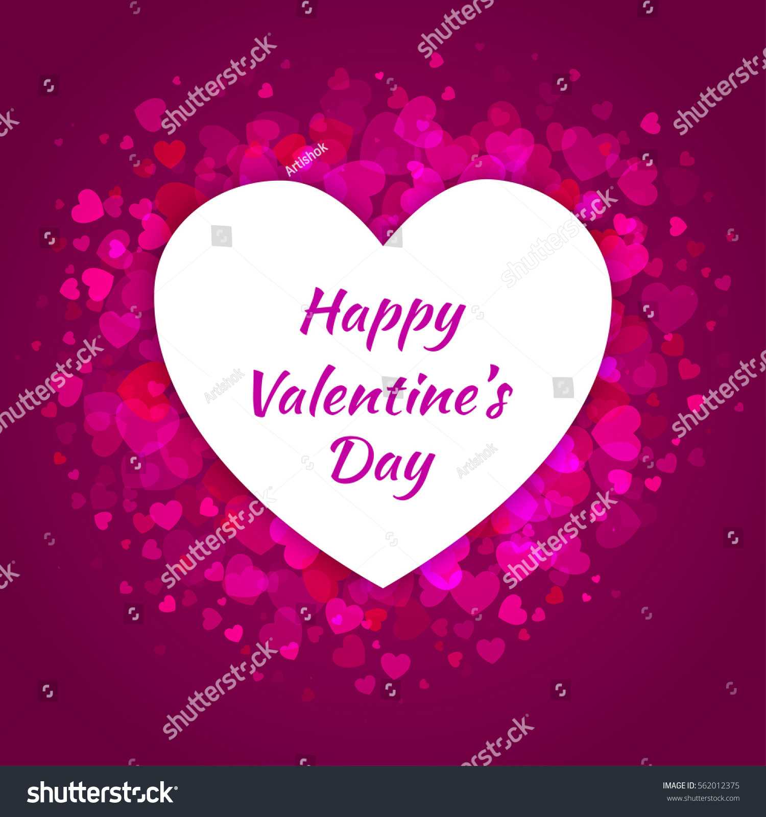 Abstract Bright Purple Violet Glow Light Hearts For Valentines Day  Background Design With White Heart Frame