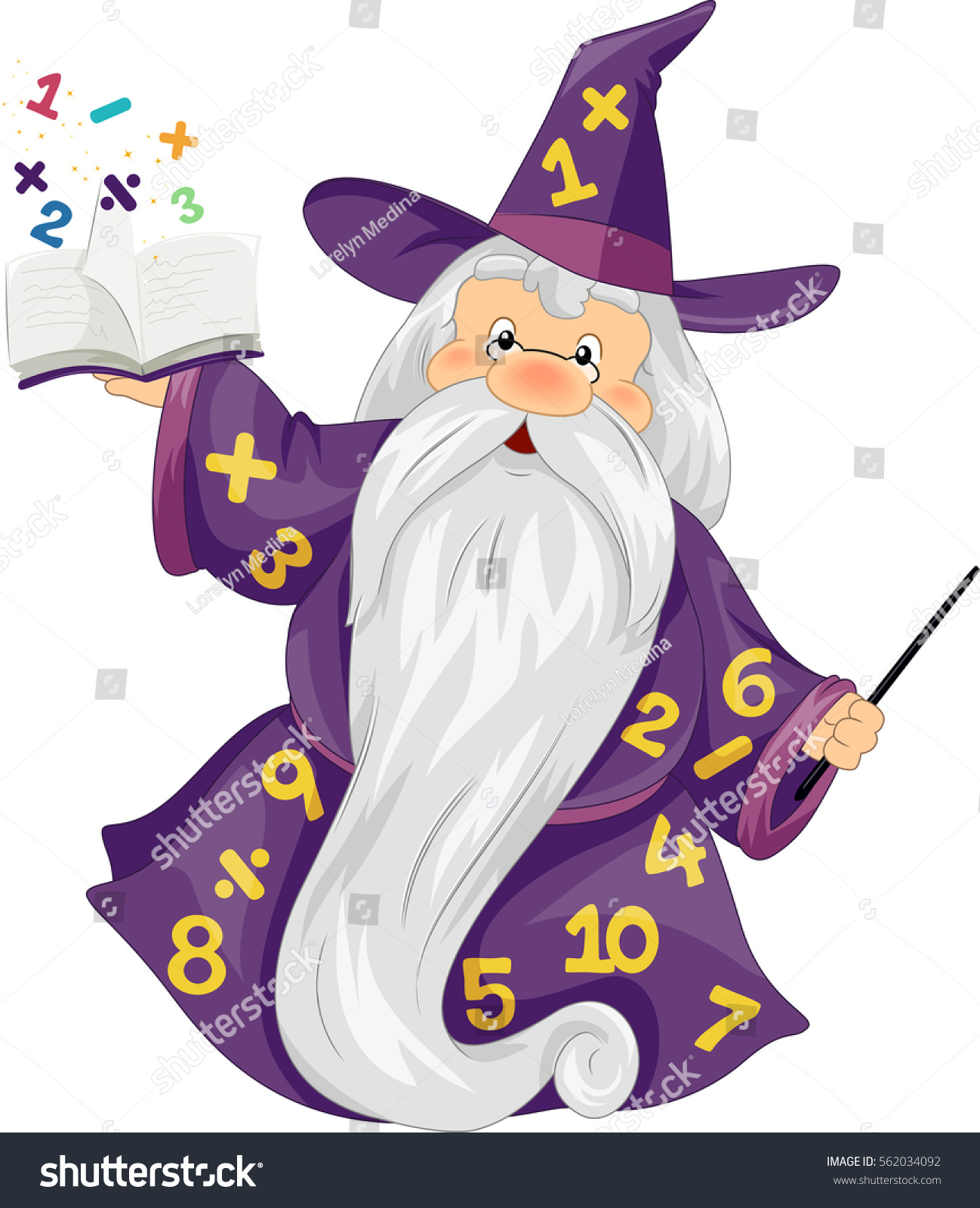 Illustration Of An Elderly Man Dressed As A Wizard Holding Magical Book With Numbers Popping