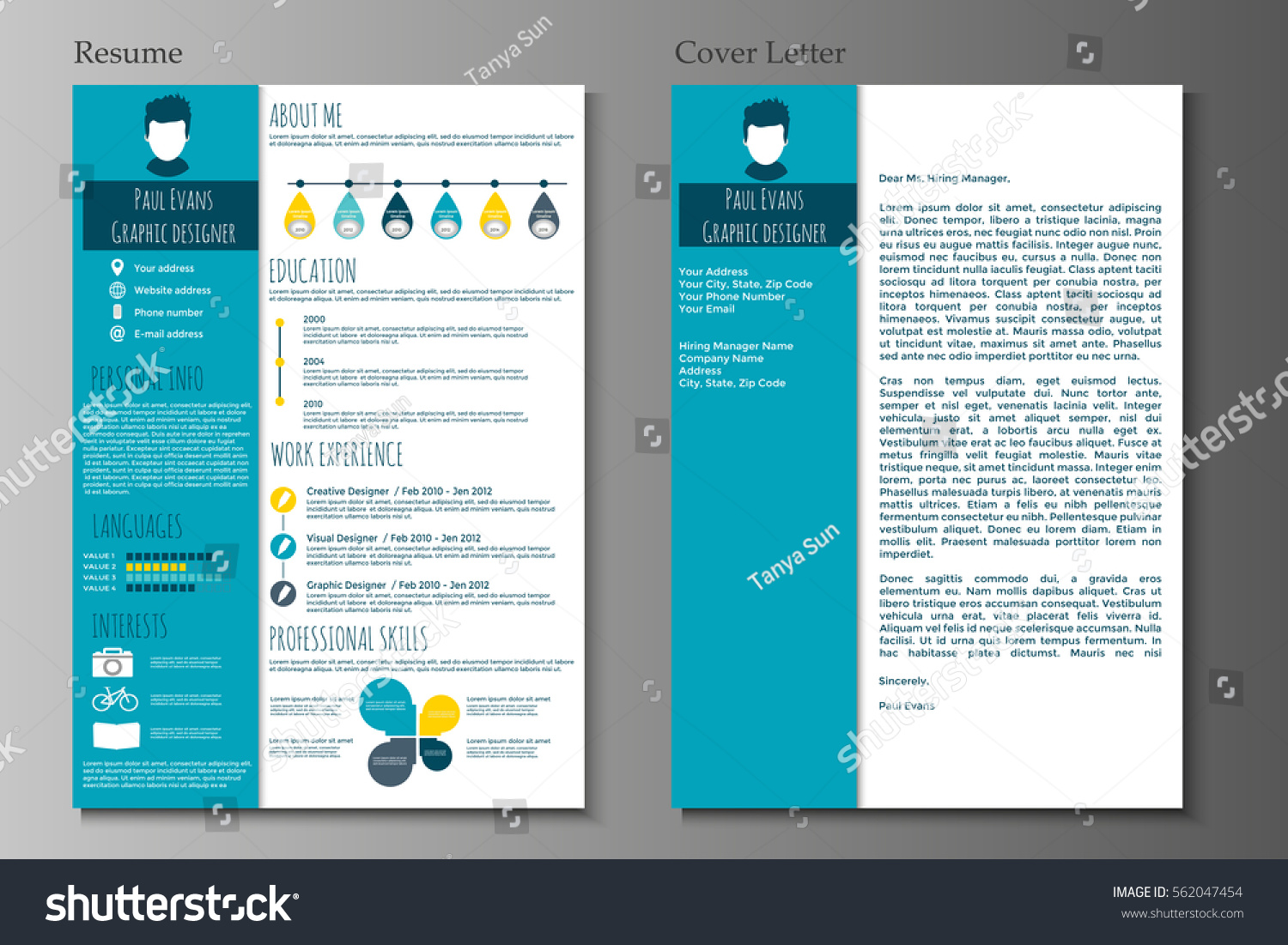resume Flat Resume Design resume cover letter flat style design stock vector 562047454 and in on grey background cv set with infographics