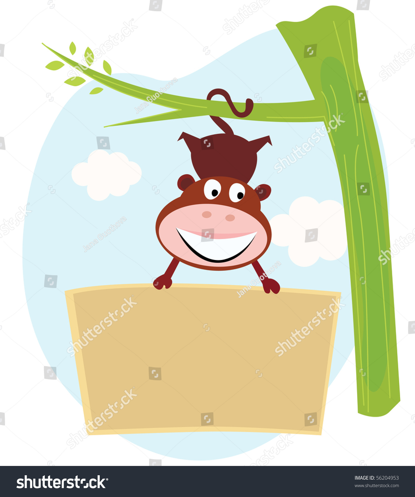 cute monkey hanging tree upside down stock vector 56204953