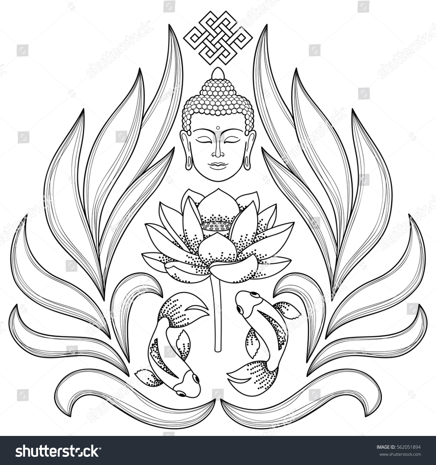 Buddha head endless knot lotus fishes stock vector 562051894 buddha head with endless knot lotus fishes on white background tattoo with buddhism biocorpaavc Images