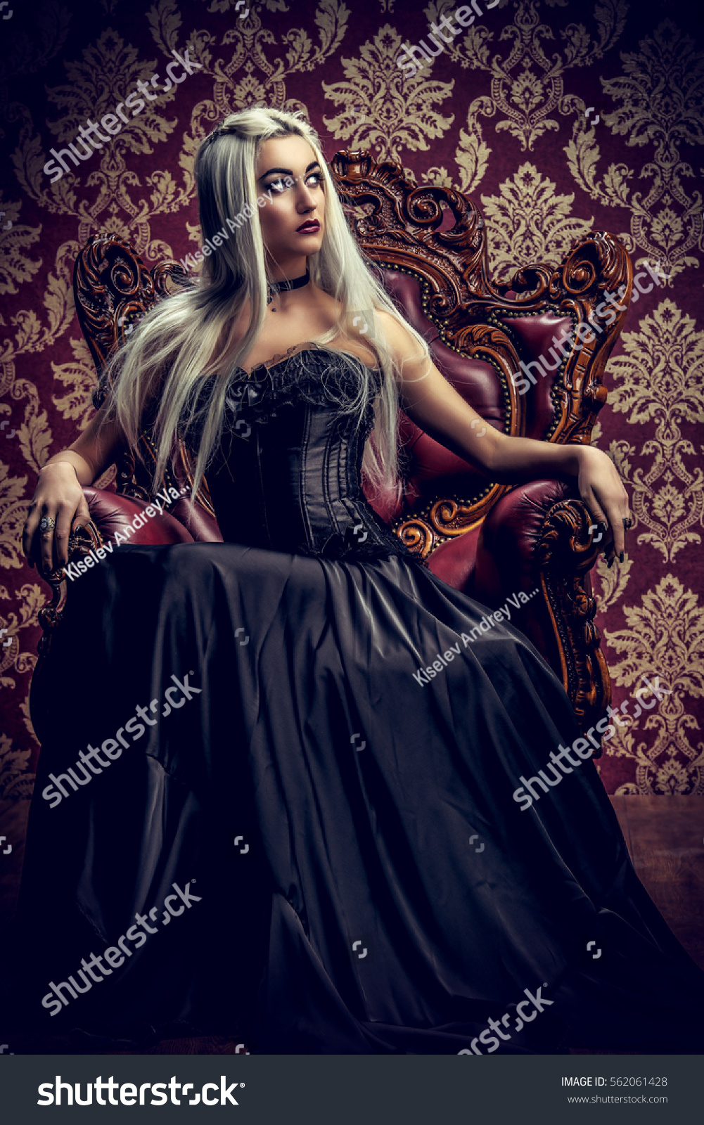 Beautiful Gothic Woman Long Blonde Hair Stock Photo