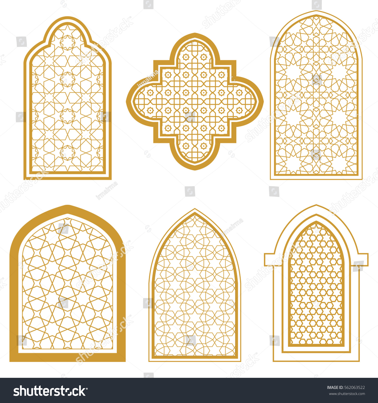 Set islamic ornamental window arabic traditional stock for Window design template