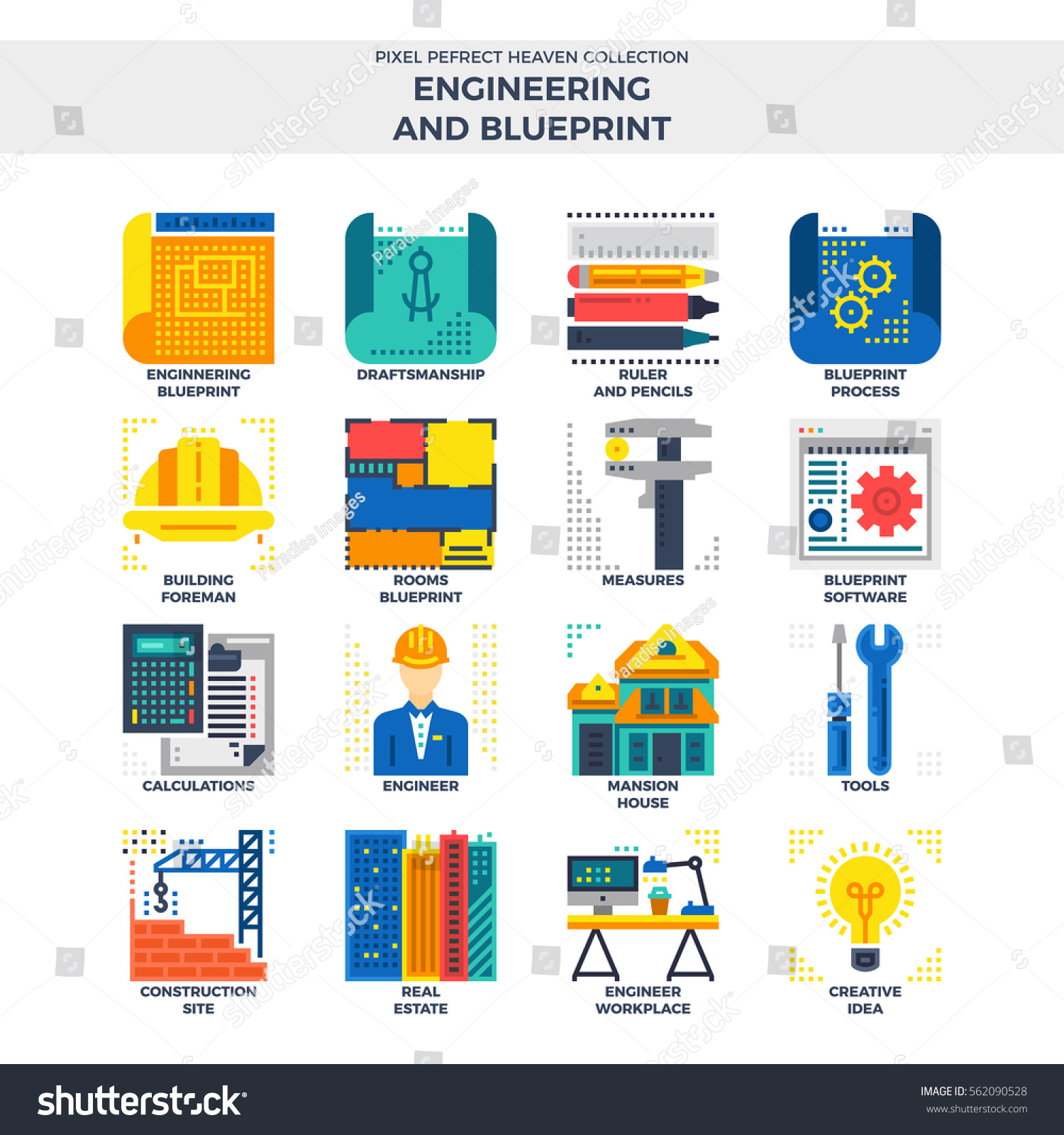 Engineering blueprint flat icon set material stock vector engineering and blueprint flat icon set material design illustration concept high quality pixel perfect malvernweather Images
