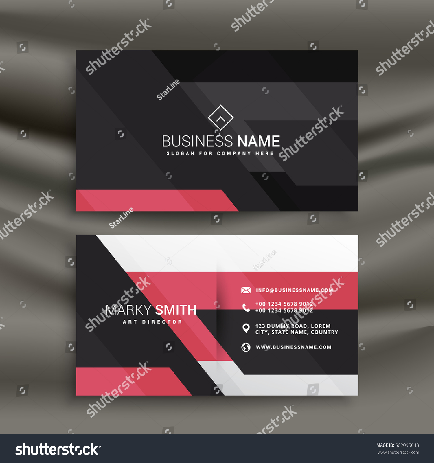 Abstract Pink Black Business Card Design Stock Vector HD (Royalty ...