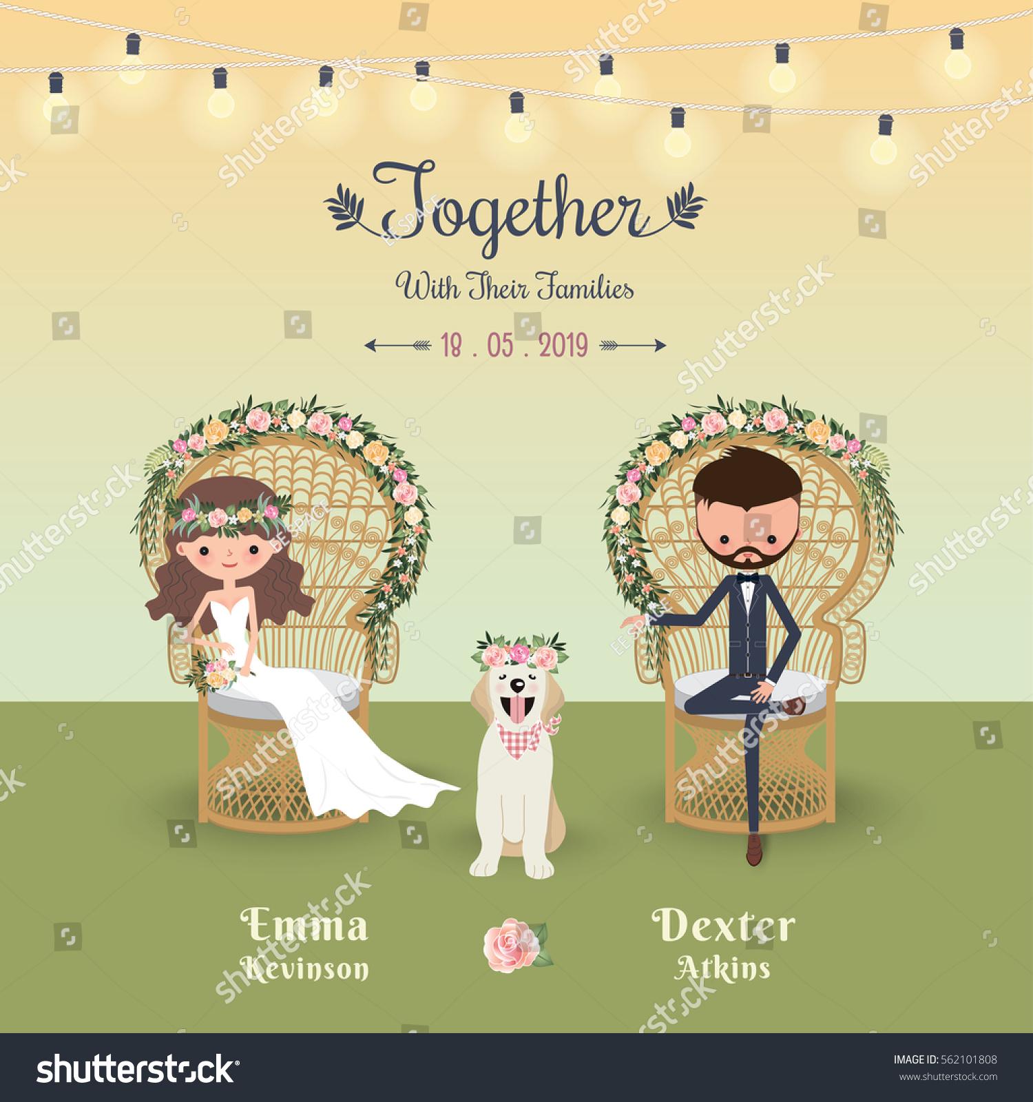 Rustic Bohemian Cartoon Couple Wedding Invitation Stock Vector