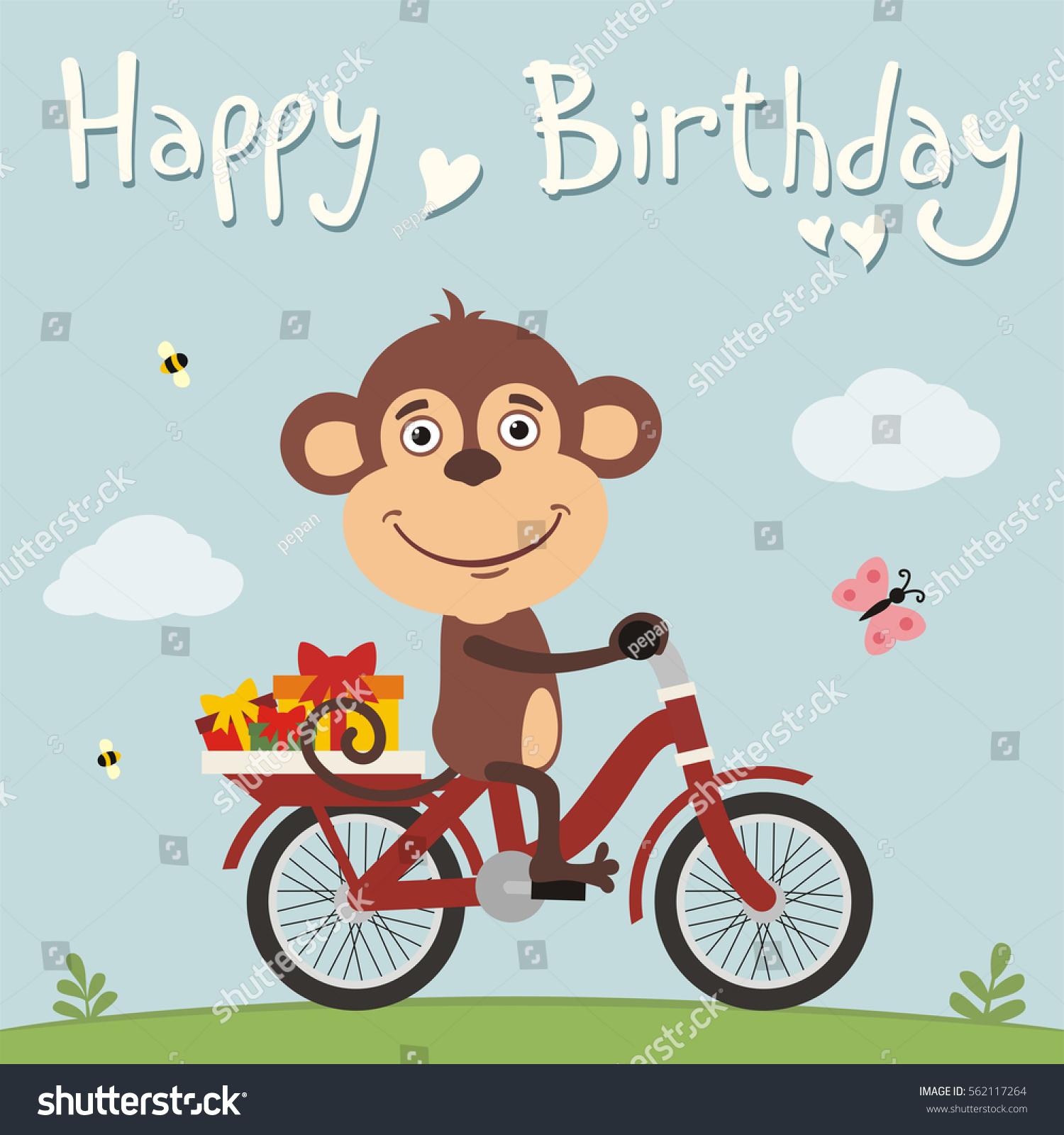 Happy Birthday Funny Monkey On Bike Stock Vector 562117264