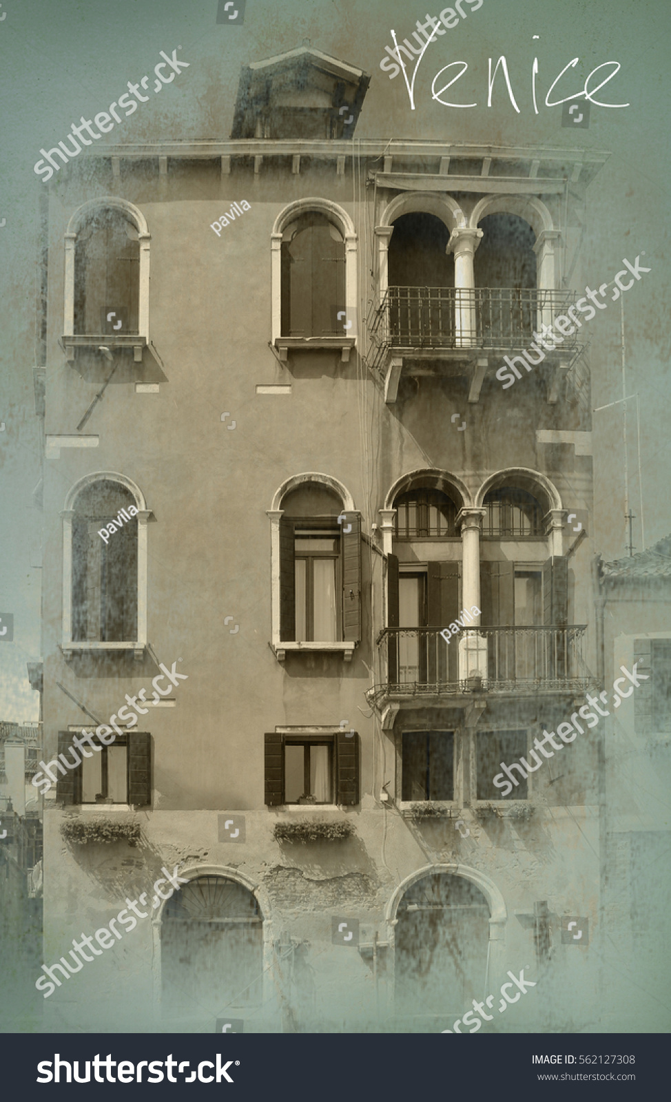 travel postcard view venice italy stock photo 562127308 shutterstock. Black Bedroom Furniture Sets. Home Design Ideas