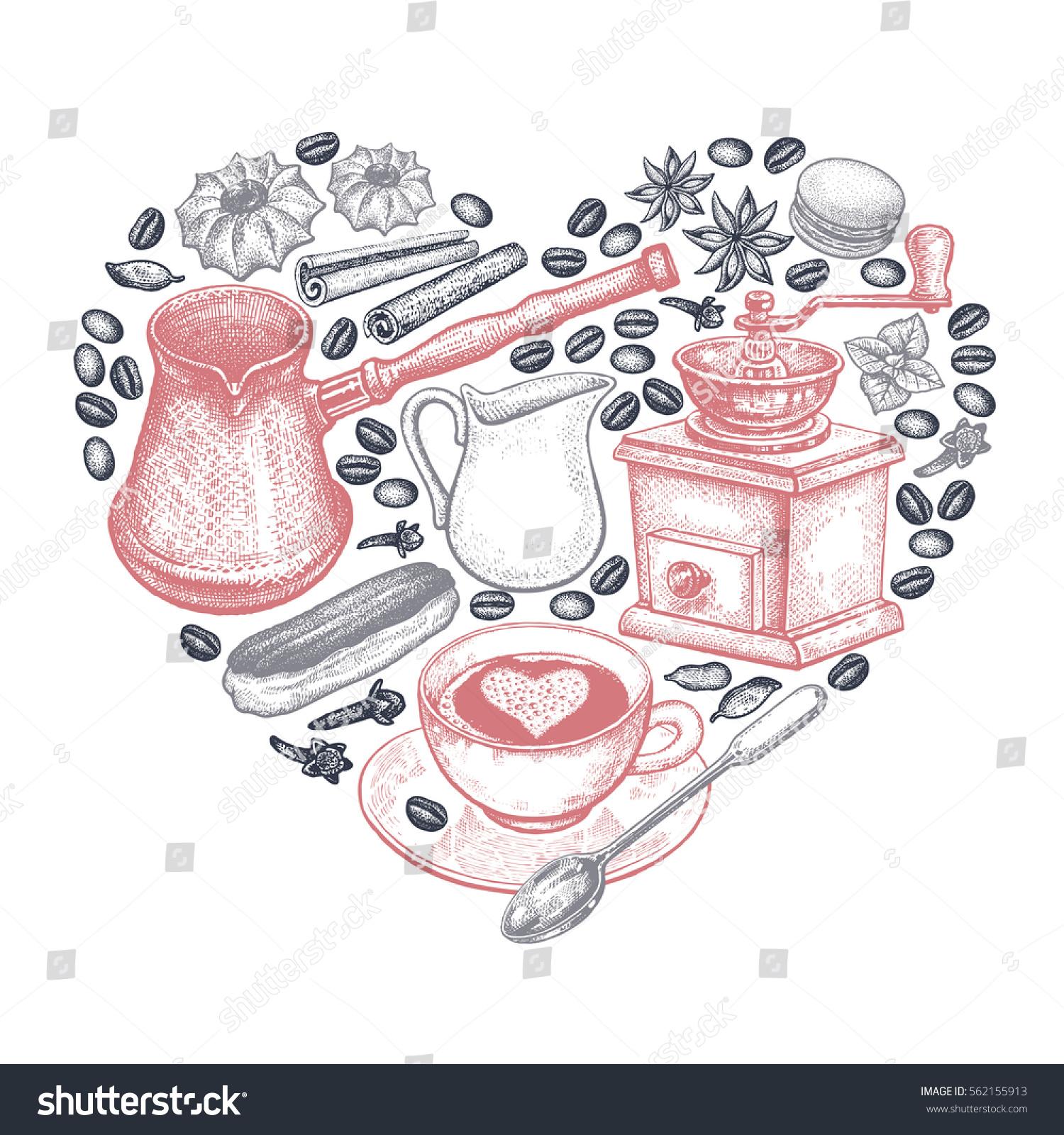 Coffee Heart Vector Illustration Art Set Stock Vector HD Royalty