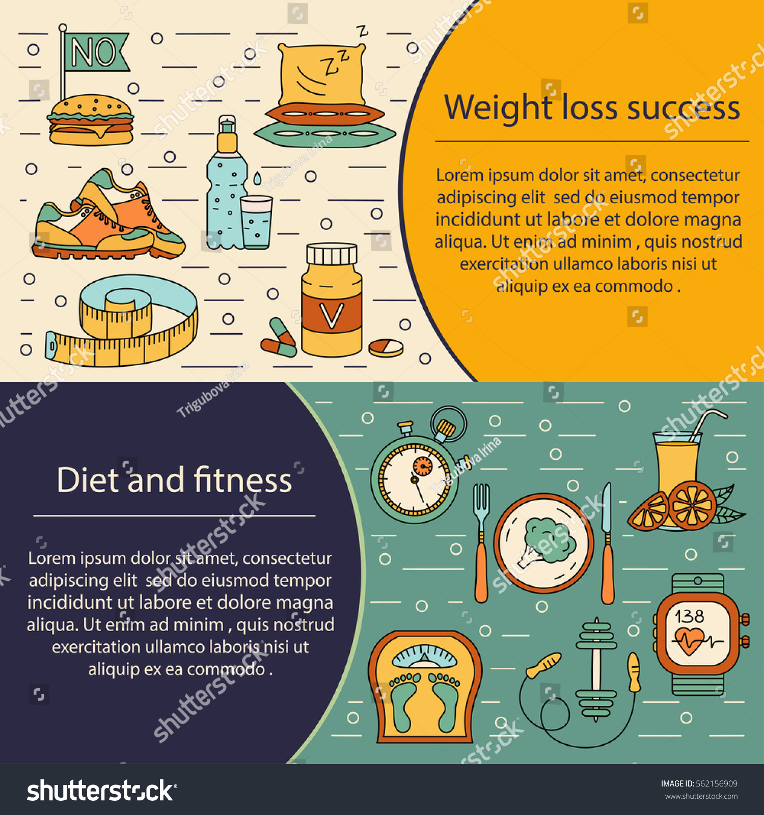 Banner Flyer Template Weight Loss Diet Stock Vector Royalty Free