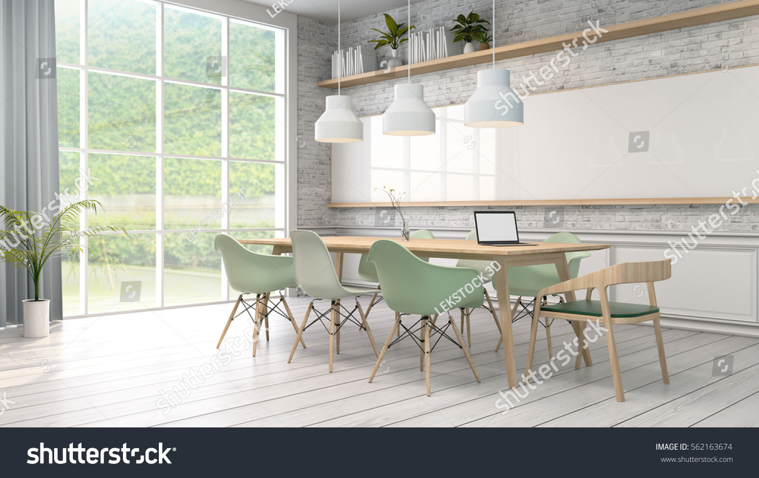 Minimalist Interior Meeting Room White With Green Chair And Wood Tablegreen