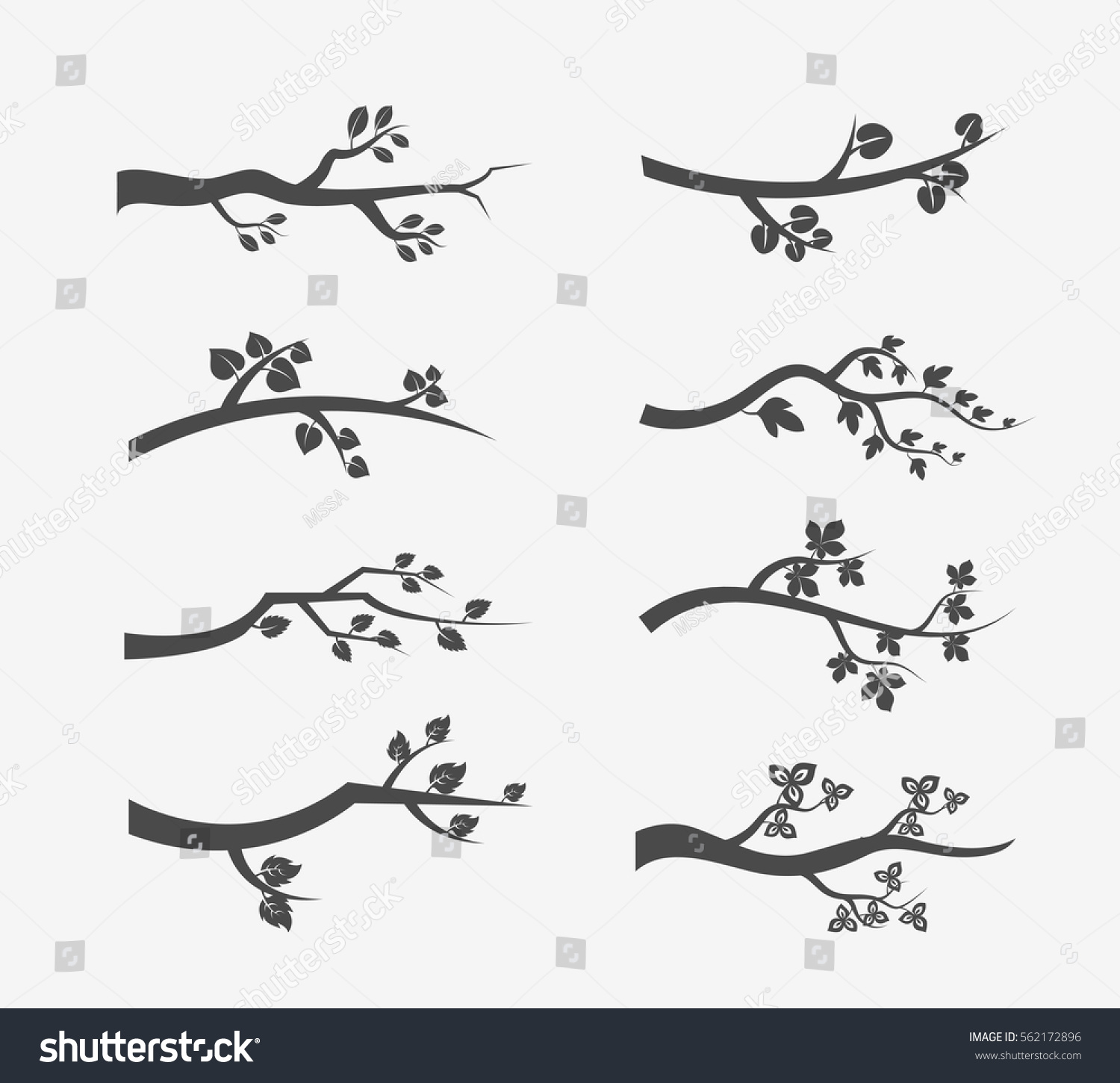 tree branch with leaves vector. vector tree branches silhouette with leaves. set of branch illustration leaves