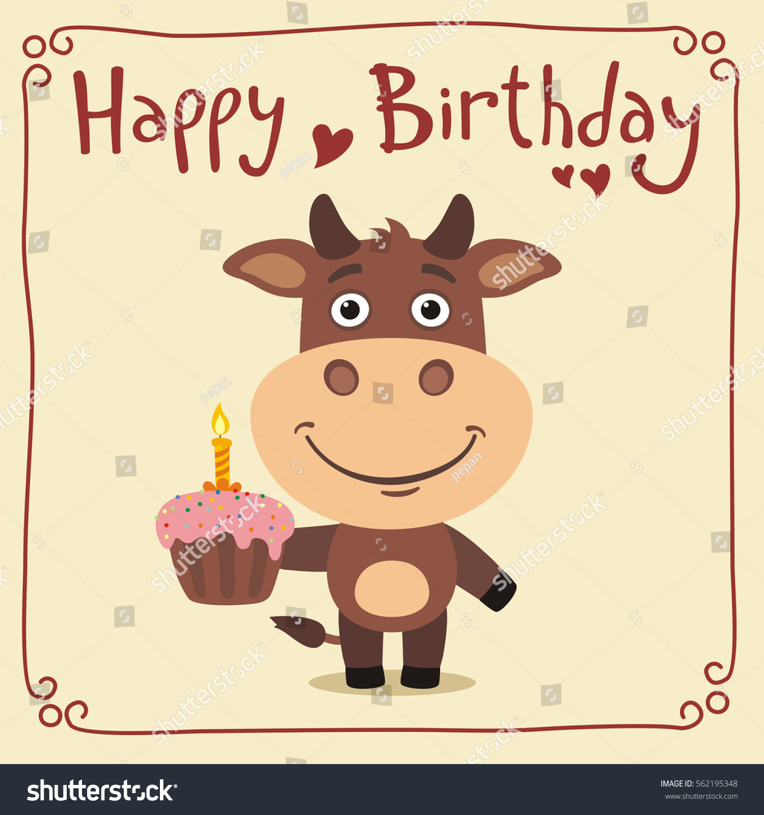 Happy Birthday Funny Cow Cake Greeting Stock Vector Royalty Free