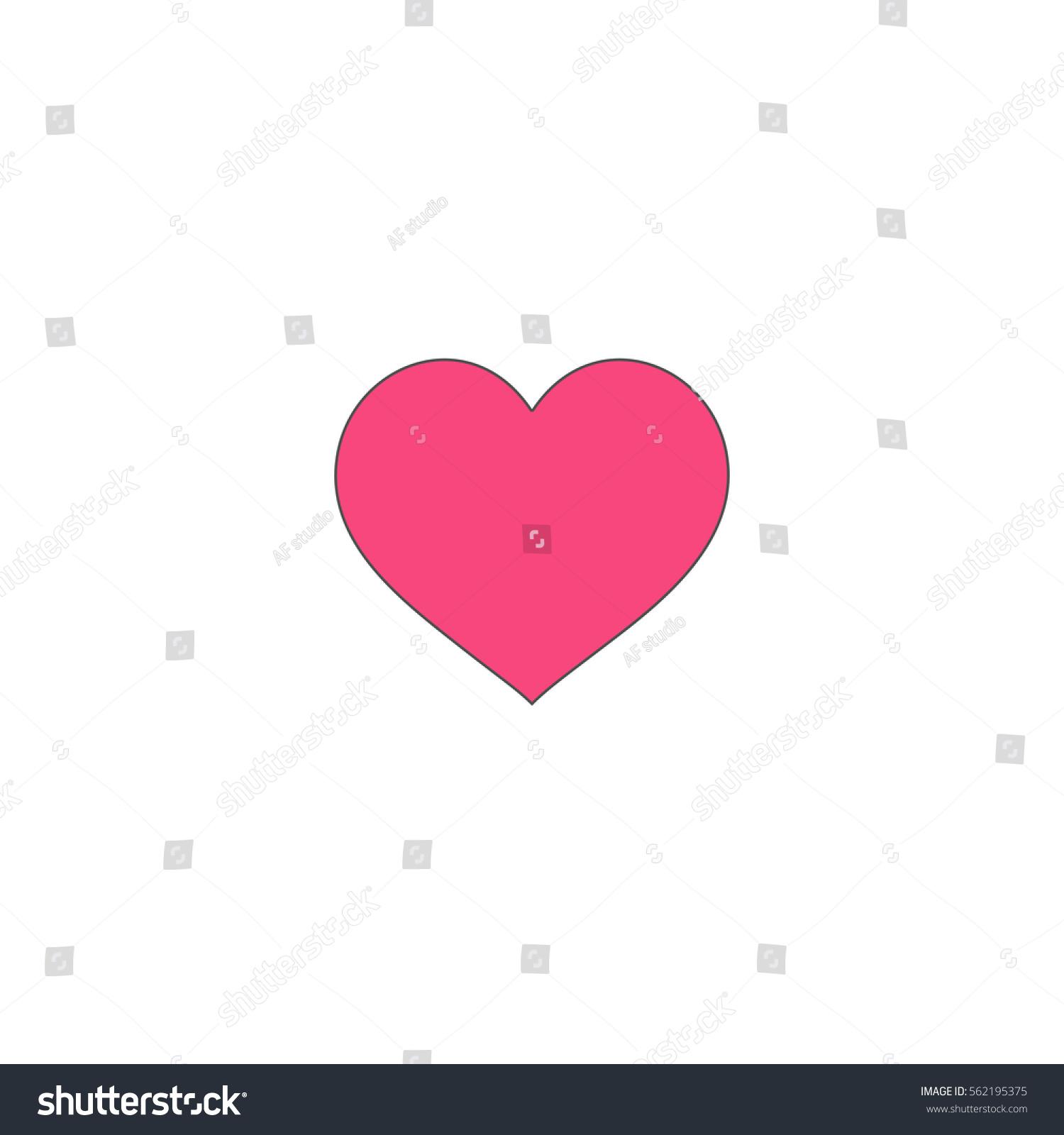 Heart pink vector icon black contour stock vector 562195375 heart pink vector icon with black contour line flat computer symbol on white background buycottarizona Choice Image