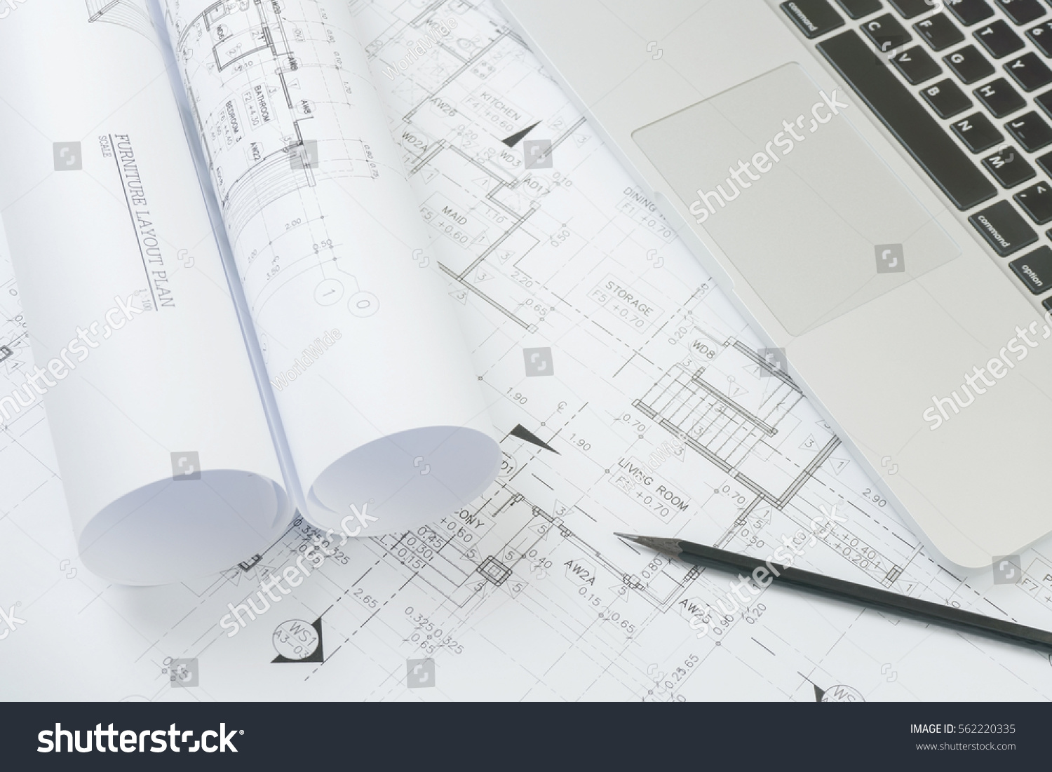 Black Pencil Computer Laptop On Architectural Stock Photo