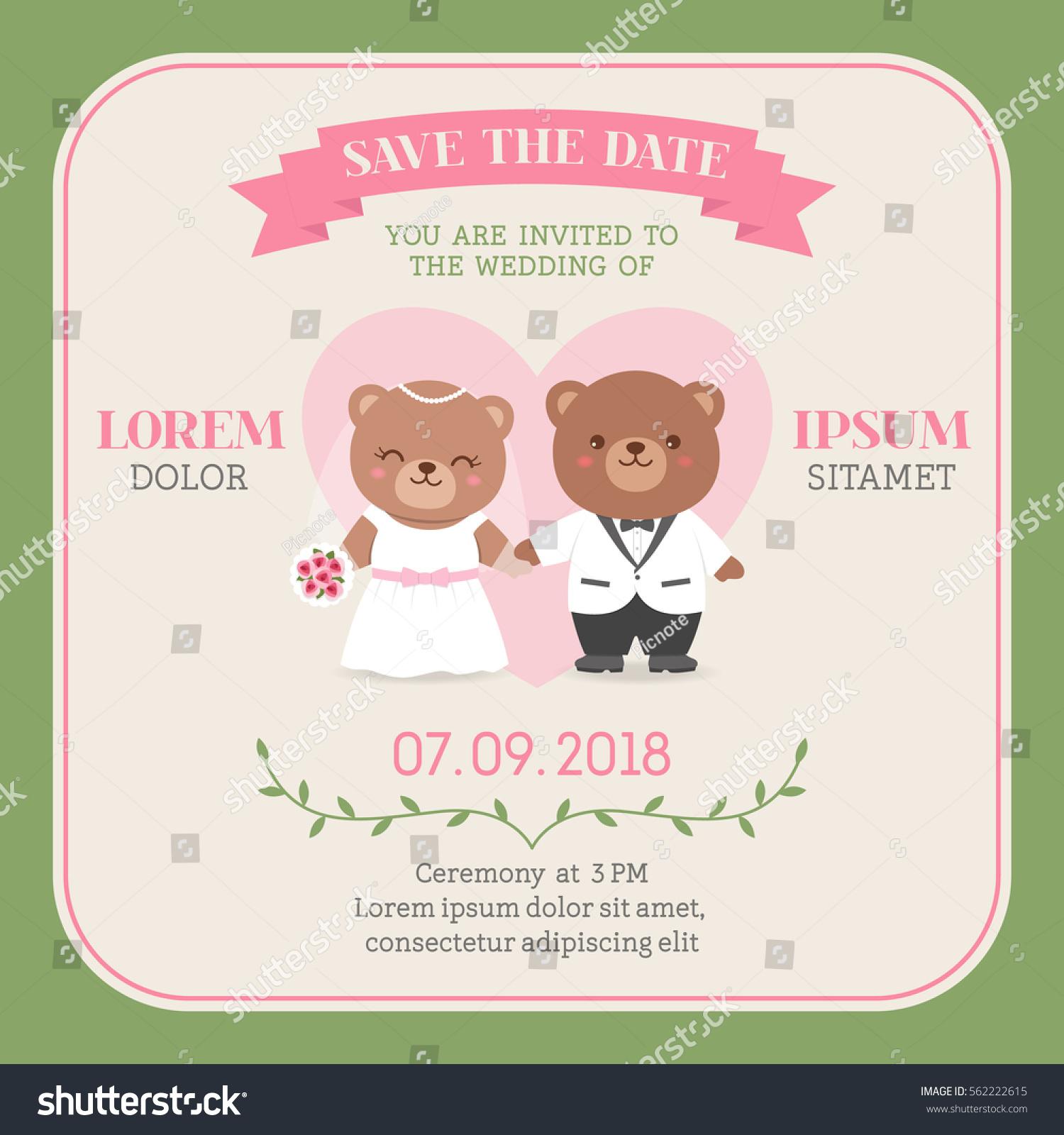 Cute Bear Couple Illustration Wedding Invitation Stock Vector ...