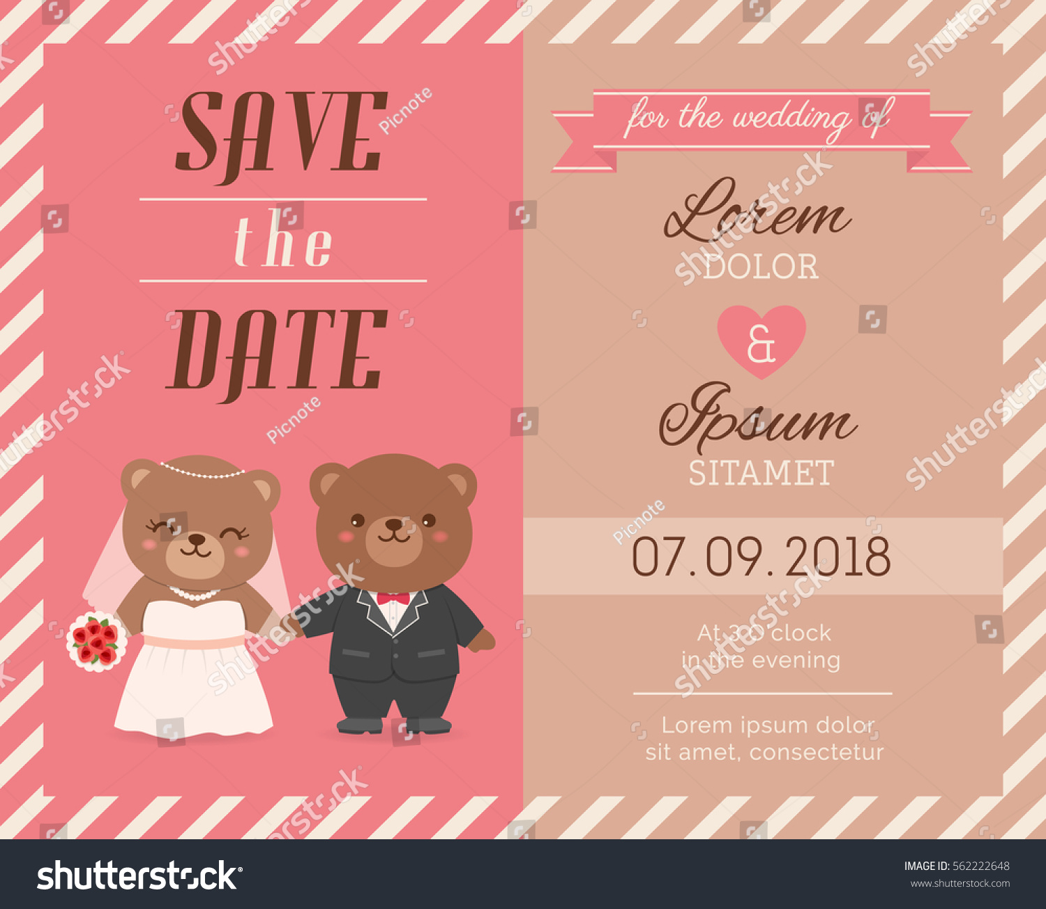Cute Bear Couple Illustration For Wedding Invitation Card Design Template