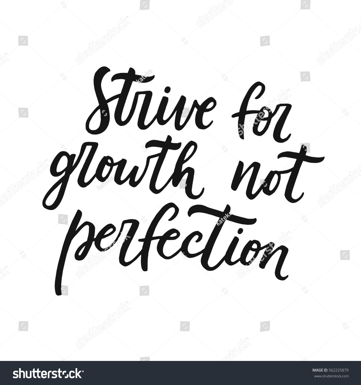 Inspiring Quote | Strive Growth Not Perfection Motivational Quote Stock Vector