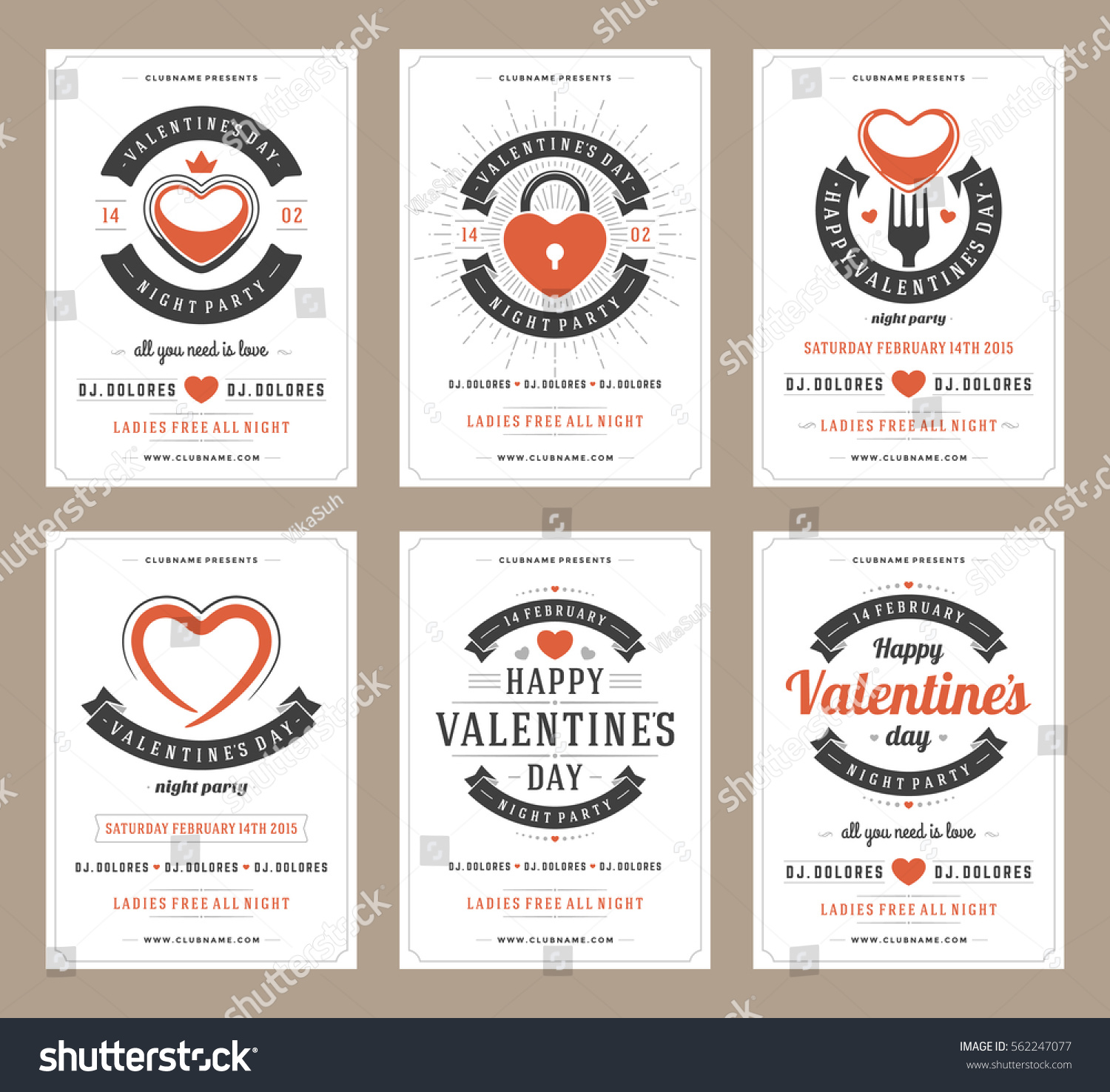 Happy Valentines Day Party Posters Design Stock Vector 562247077 ...
