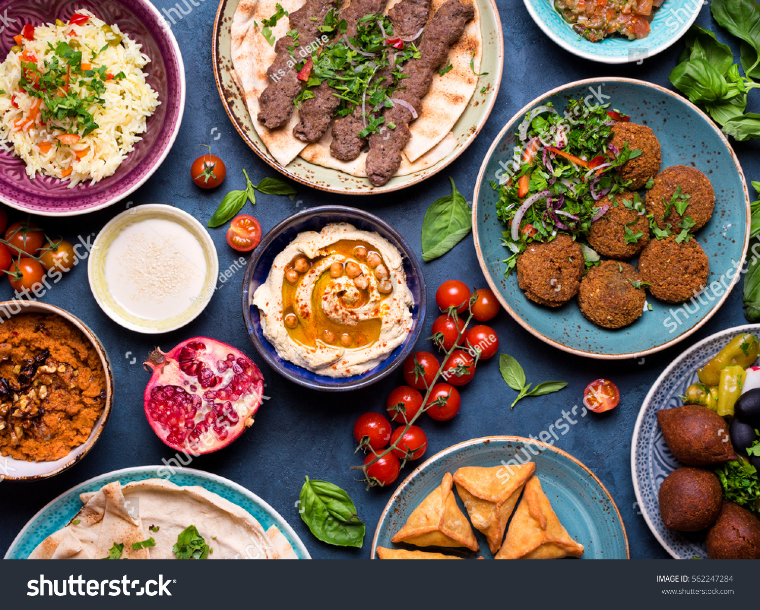 Middle eastern arabic dishes assorted meze stock photo for Arabic cuisine dishes