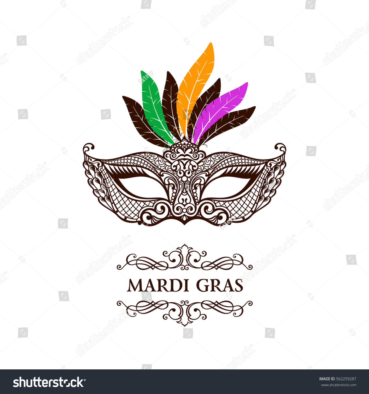 Vector Logo Mask Lace Mardi Gras Stock Vector 562259287 ...