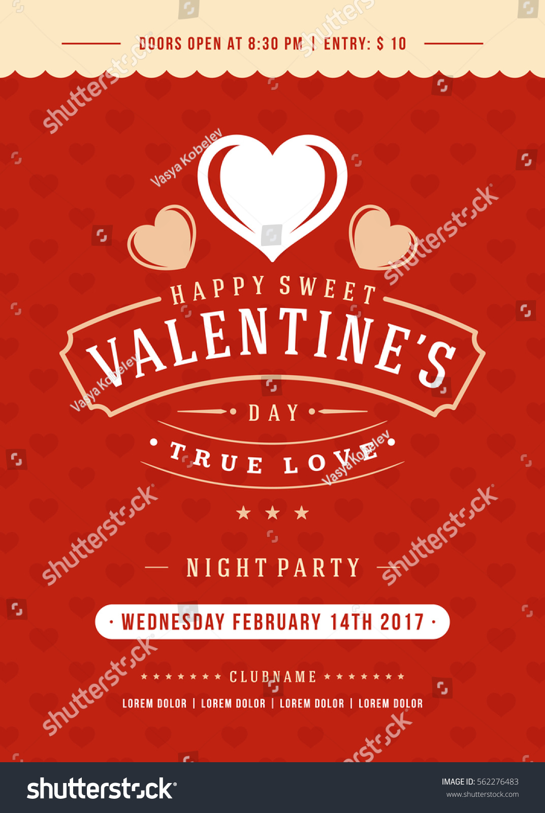 happy valentines day party invitation poster stock vector 562276483 shutterstock. Black Bedroom Furniture Sets. Home Design Ideas