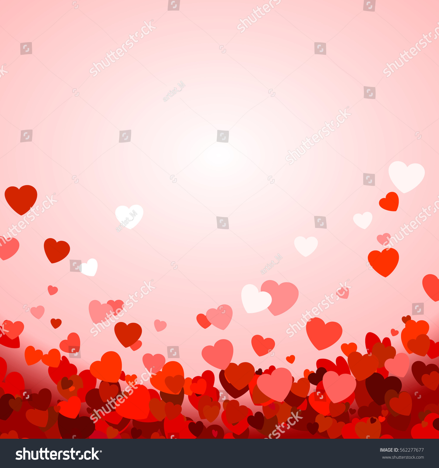 Valentine's day background with hearts. Vector illustration #562277677