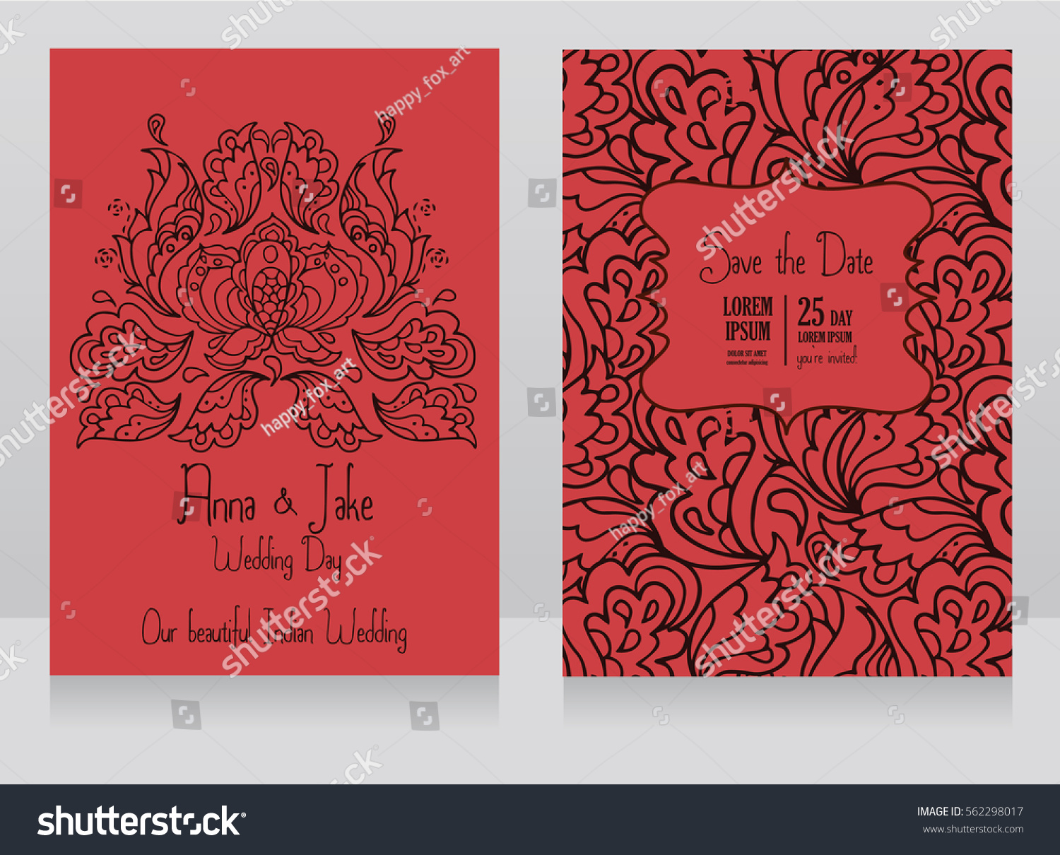 Template Wedding Invitations Indian Style Traditional Stock Vector ...